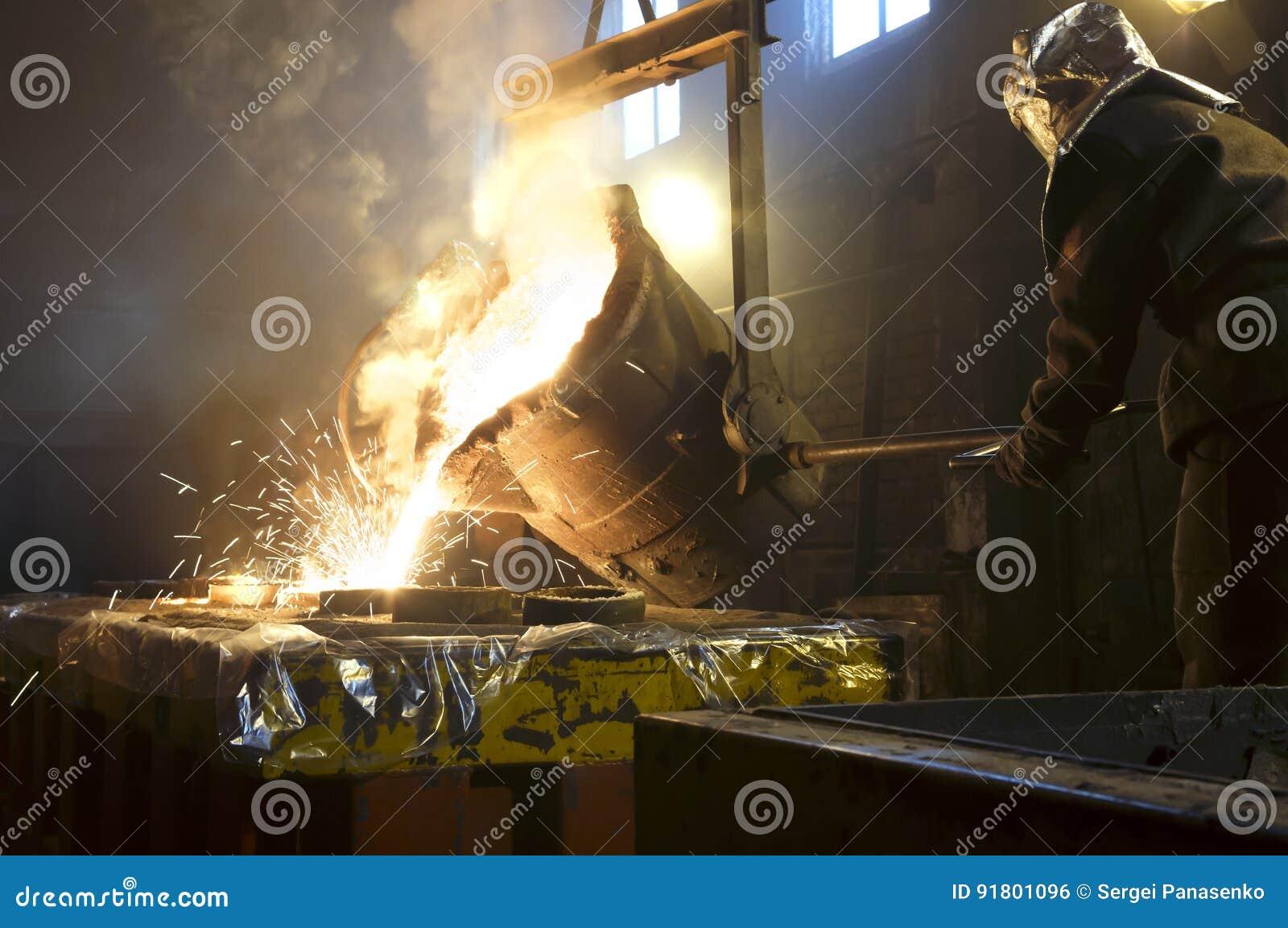 Arbeiders controlerend smelten van metaal in ovens De arbeider werkt bij de metallurgische installatie Het vloeibare metaal wordt