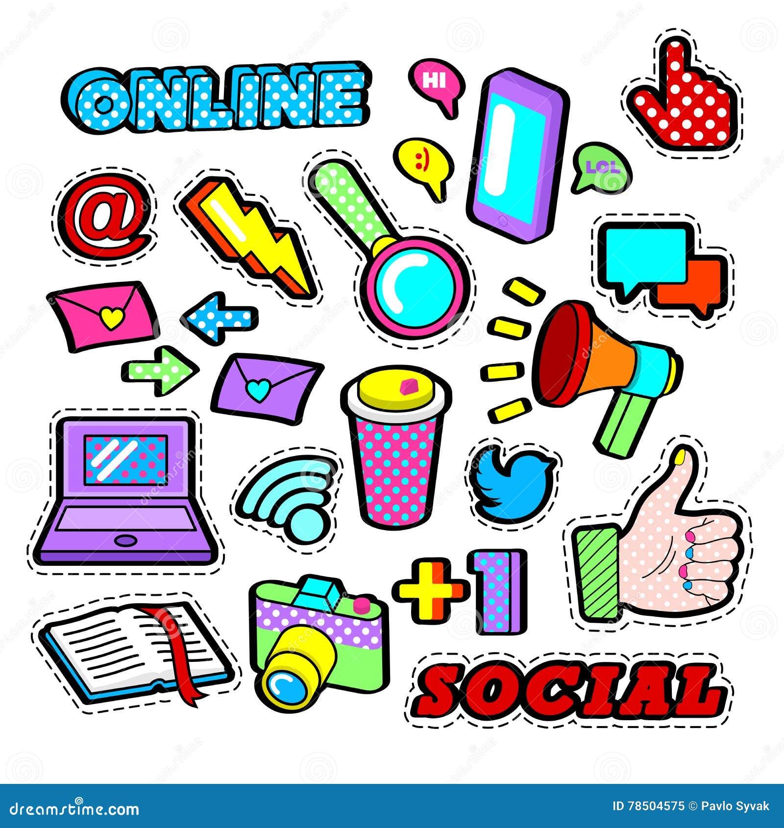 Arbeiten Sie Ausweise, Flecken, die Aufkleber um, die mit Elementen des Sozialen Netzes - Laptop, Megaphon im Knall Art Comic Sty