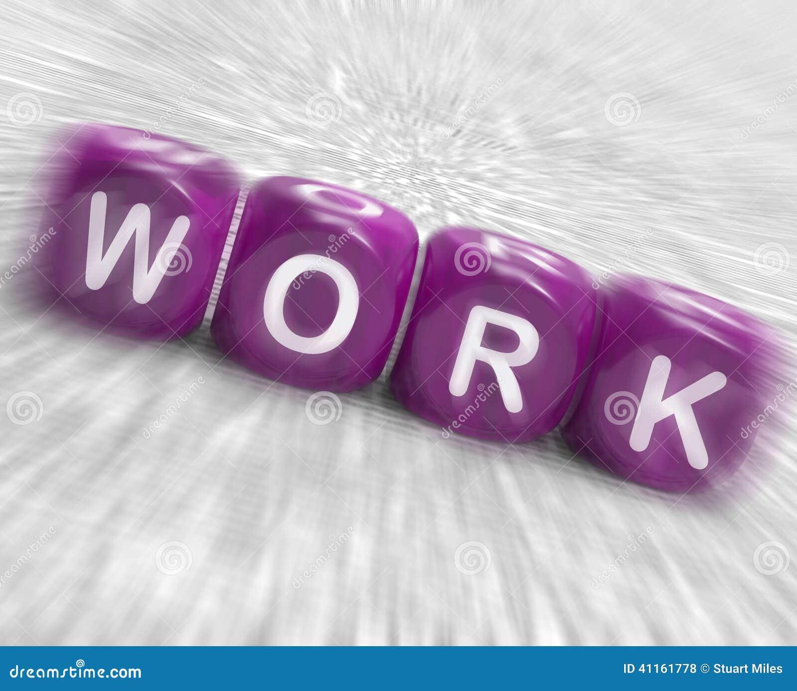 Arbeits-Würfel-Anzeigen eingesetzt besetzt und Arbeiten