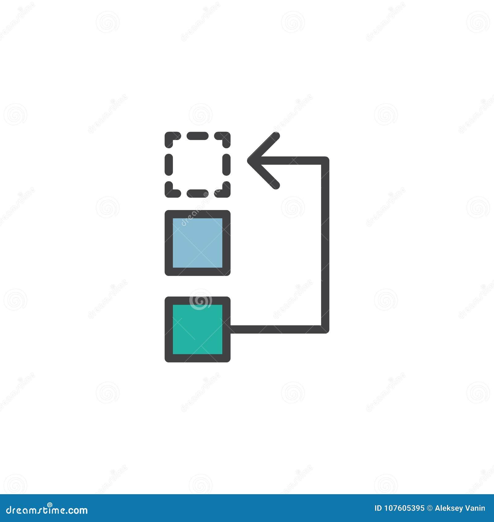 Arbeitsfluß oder Prozess gefüllte Entwurfsikone