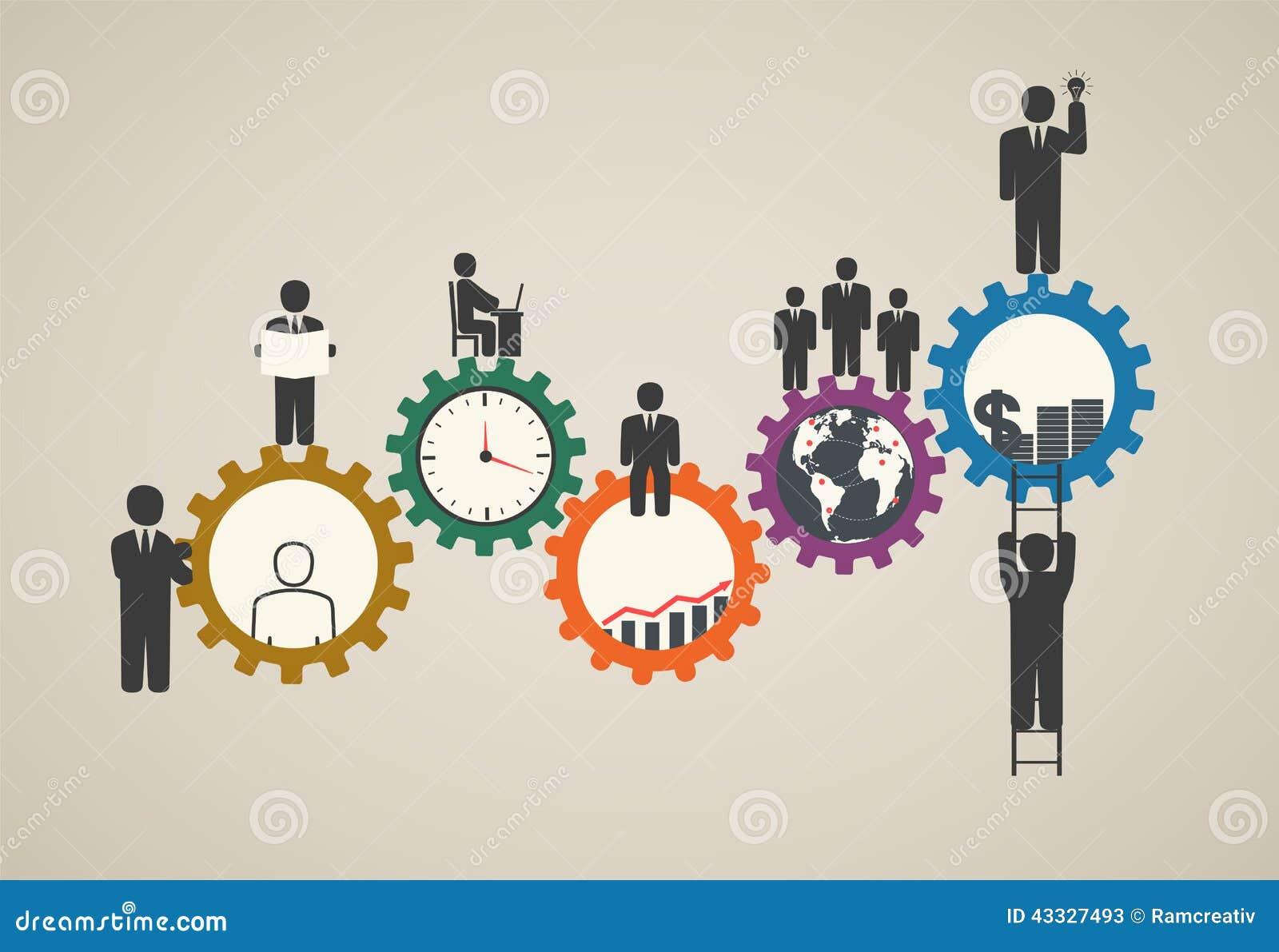 Arbeitskräfte, Teamfunktion, Geschäftsleute in der Bewegung, Motivation für Erfolg