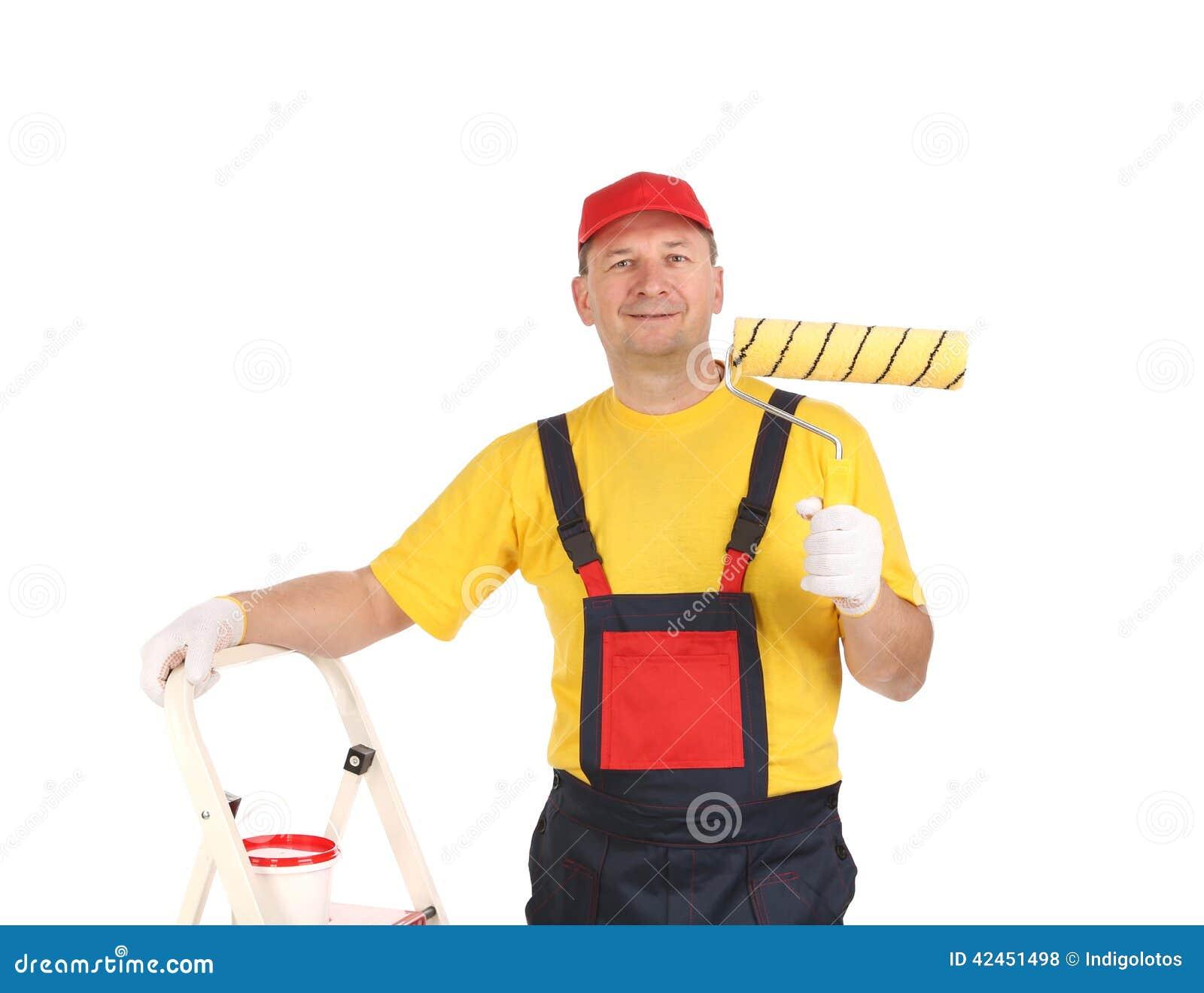 Arbeitskraft auf Leiter mit Rolle