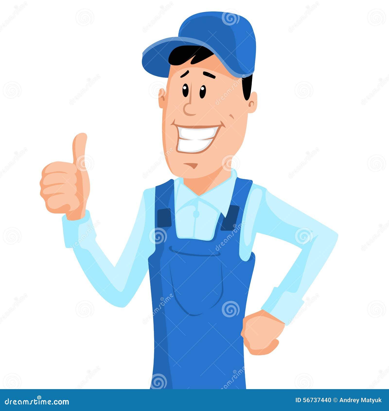 Arbeitskraft im blauen Arbeitskleidungsshowdaumen oben