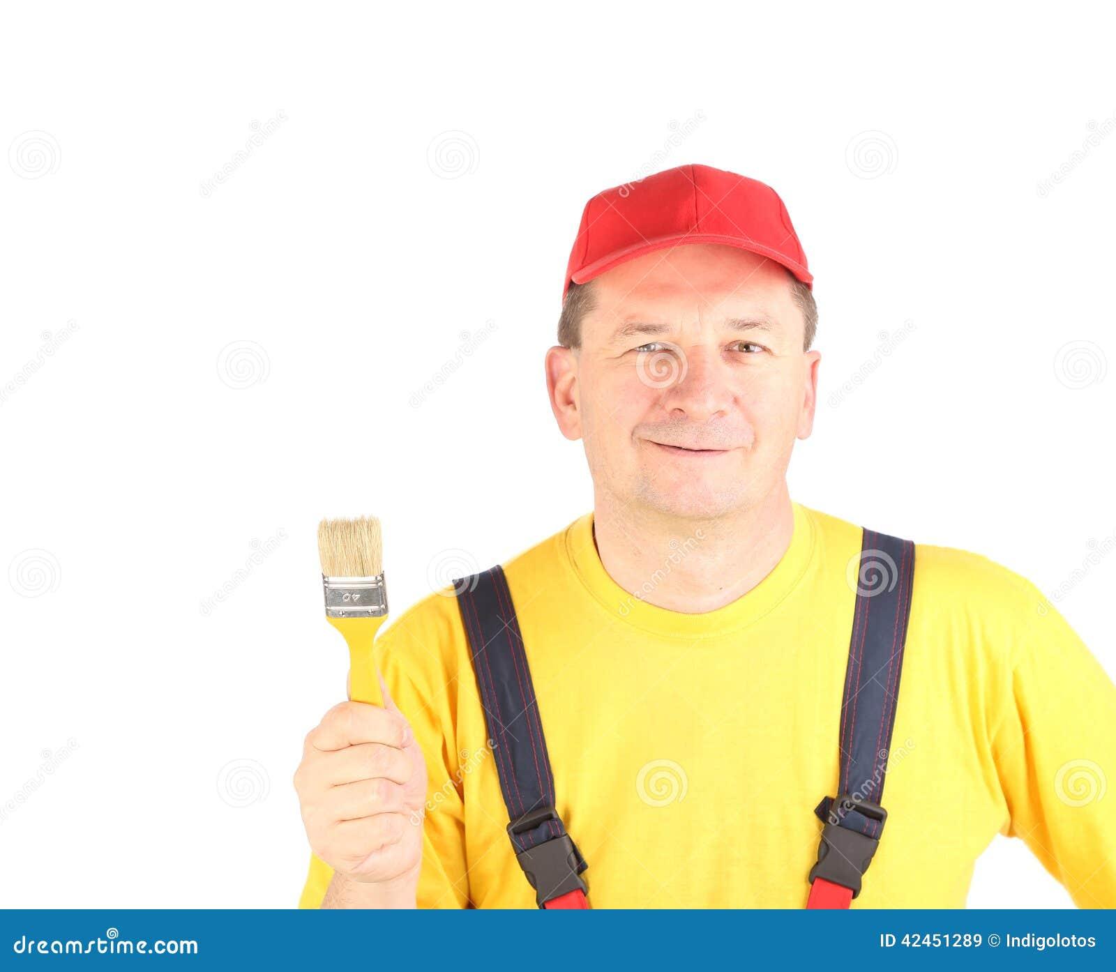 Arbeitskraft zeigt Malereibürste
