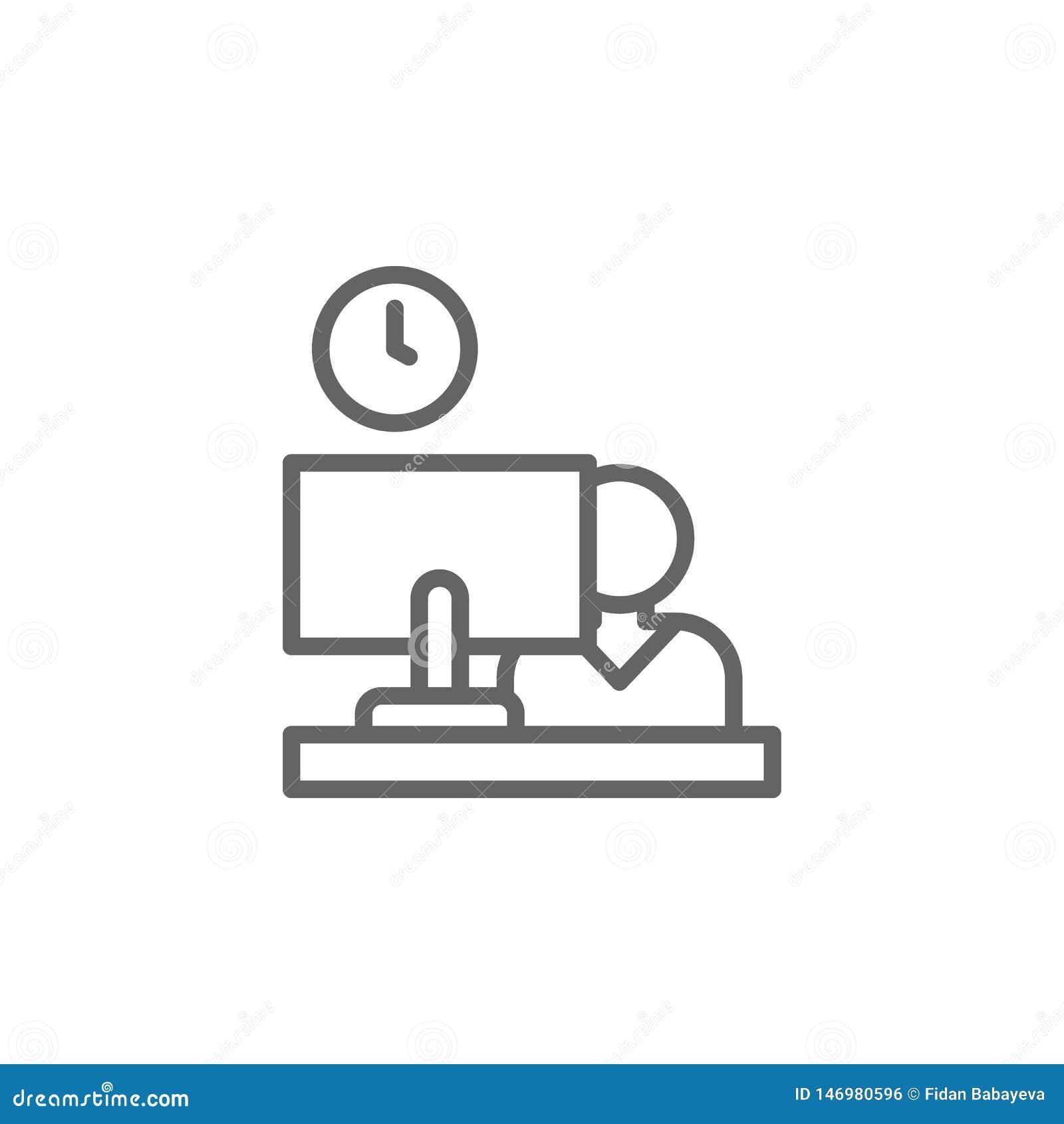 Arbeitskraftlaptop in der Büroentwurfsikone Elemente der Gesch?ftsillustrationslinie Ikone Zeichen und Symbole k?nnen f?r Netz, L