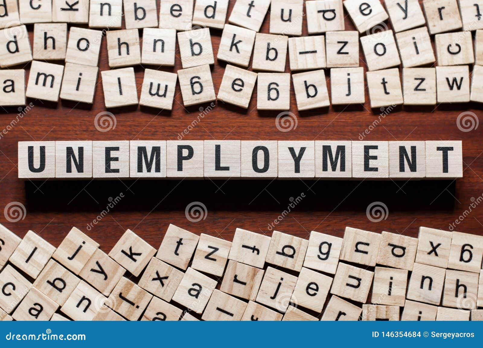 Arbeitslosigkeitswortkonzept auf Würfeln