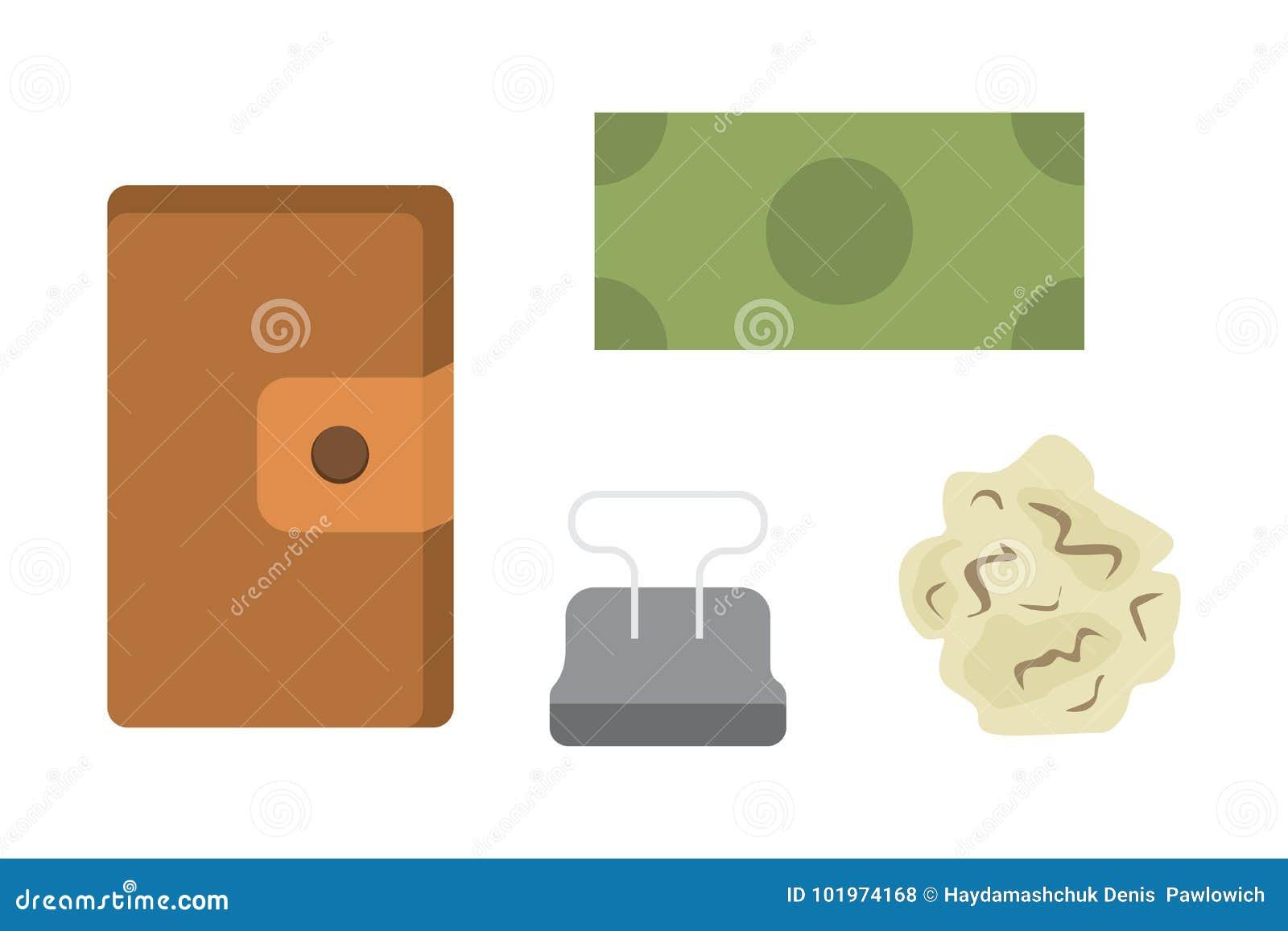 Arbeitsplatz mit Dokumenten Büro persönlich und Geschäfts-Ikonenvektorsatz Arbeitstabelle mit flacher Illustration des Gerätlapto
