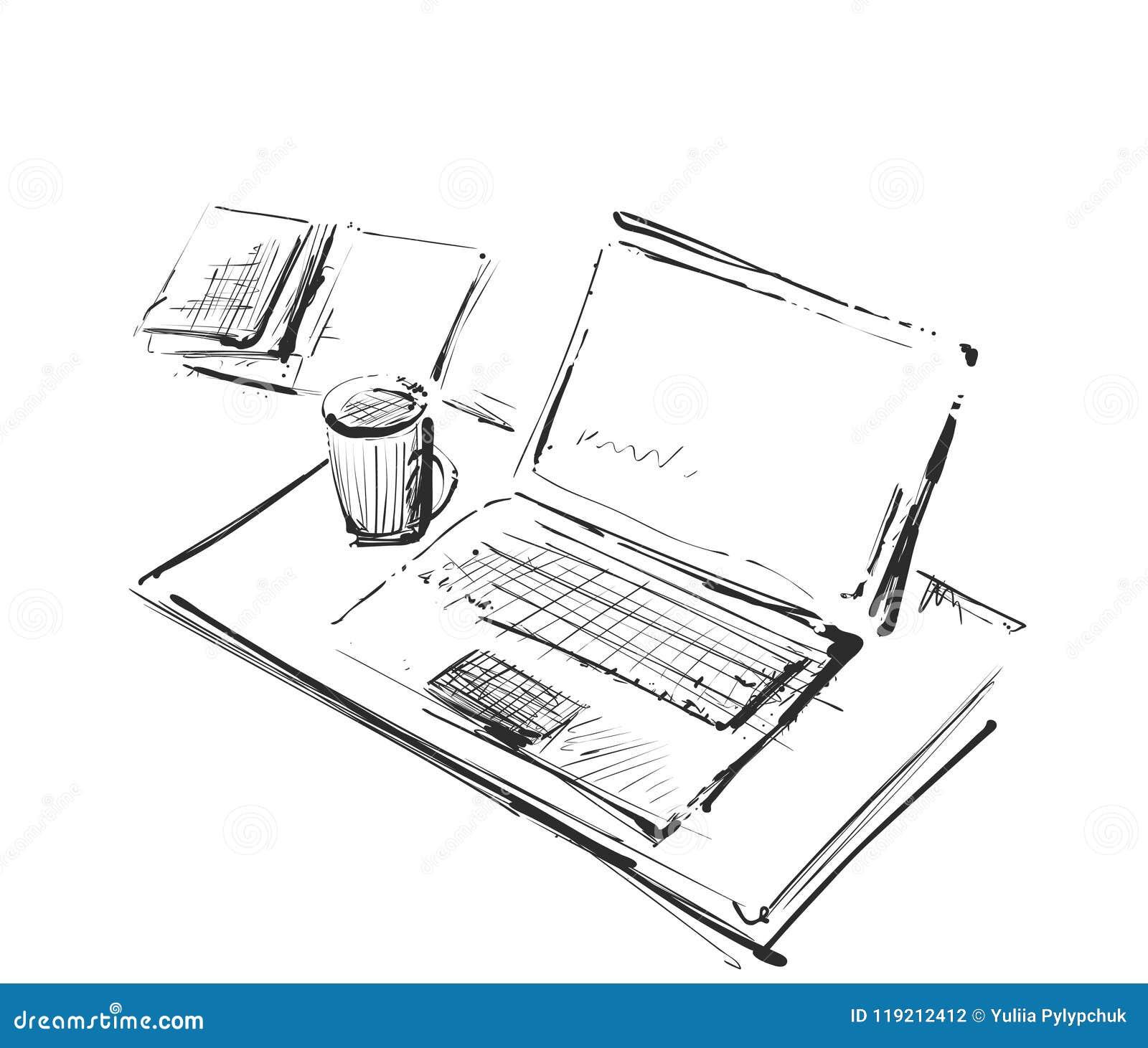 Arbeitsplatz mit Laptop, Notizbuch, Tablette und Tasse Kaffee vector gezogene Illustration