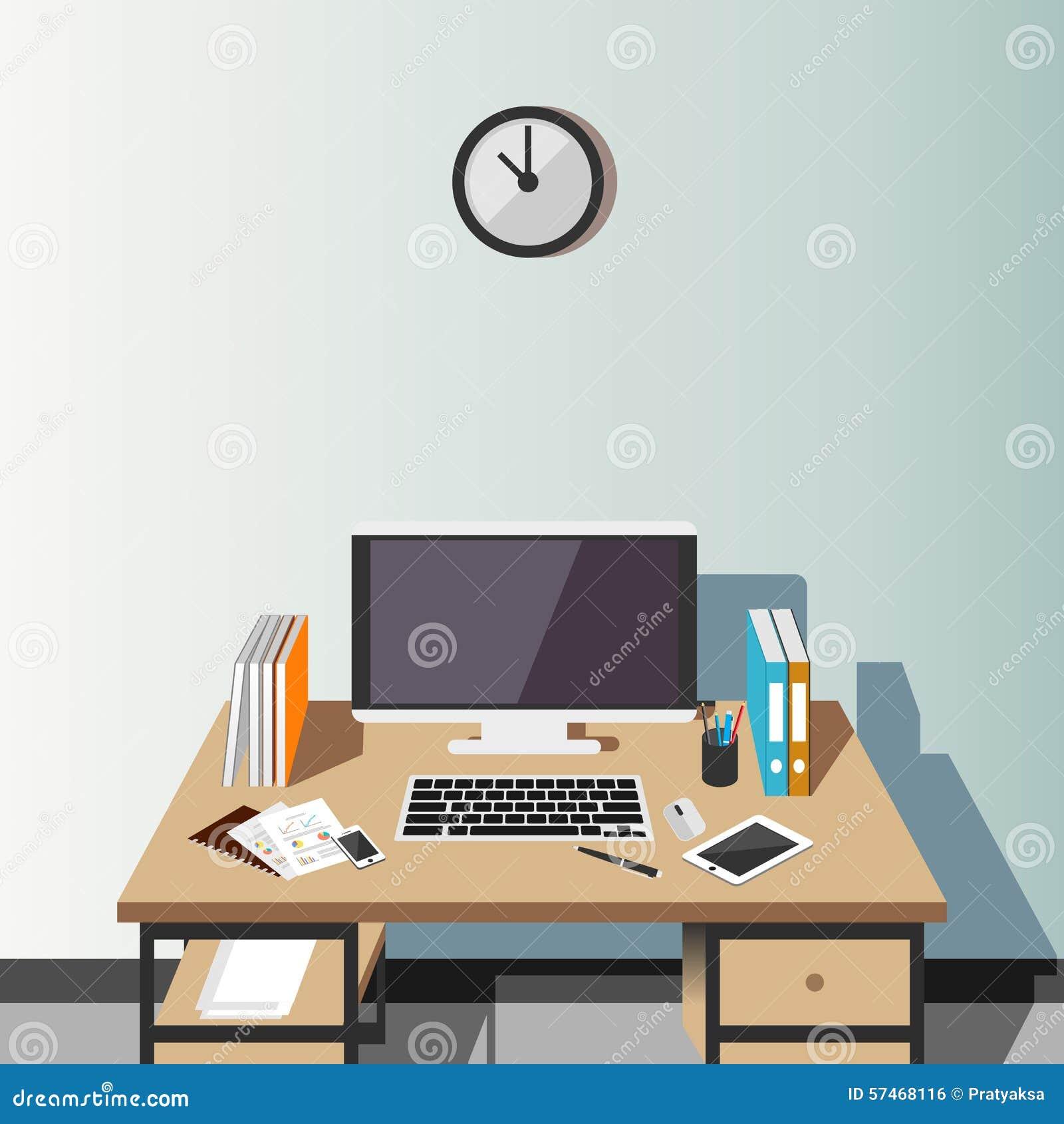 Arbeitsplatz Zu Hause Oder Büroillustration Moderner Innenraum ...