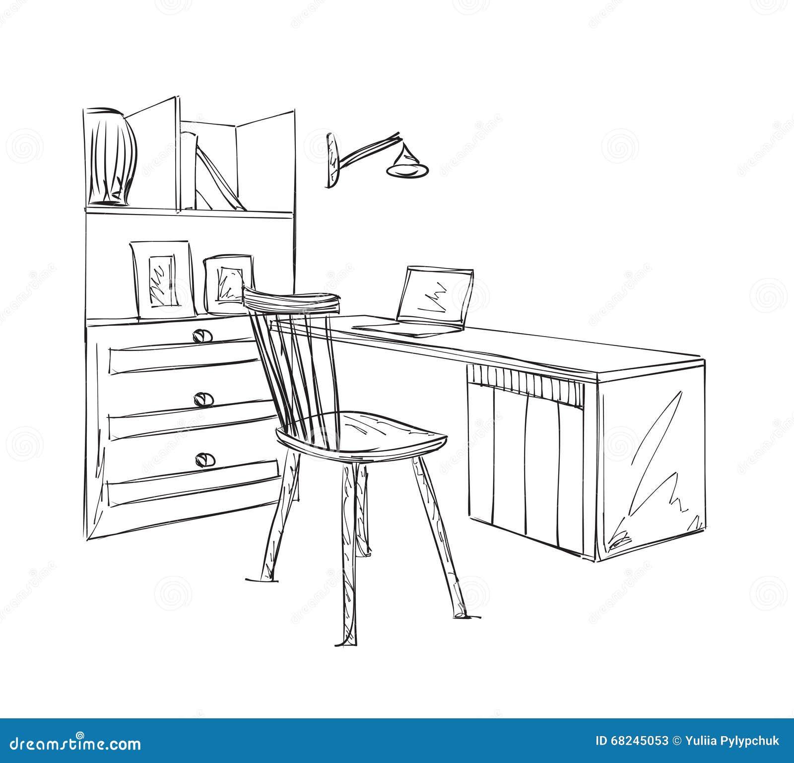 Arbeitsplatzskizze Hand Gezeichnete Tabelle Und Stuhl Vektor