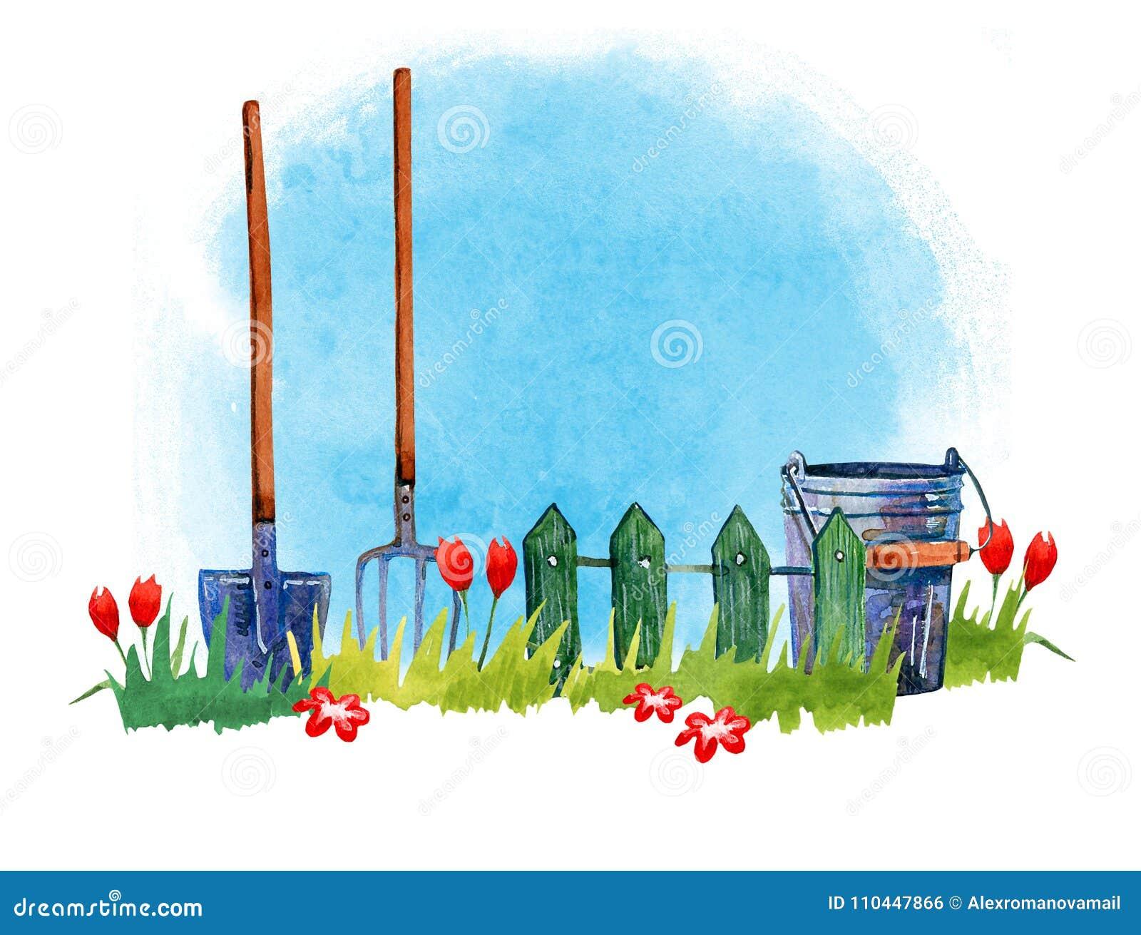 Arbeta i trädgården hjälpmedel på gräs - räcka den utdragna vattenfärgillustrationen på blå bakgrund