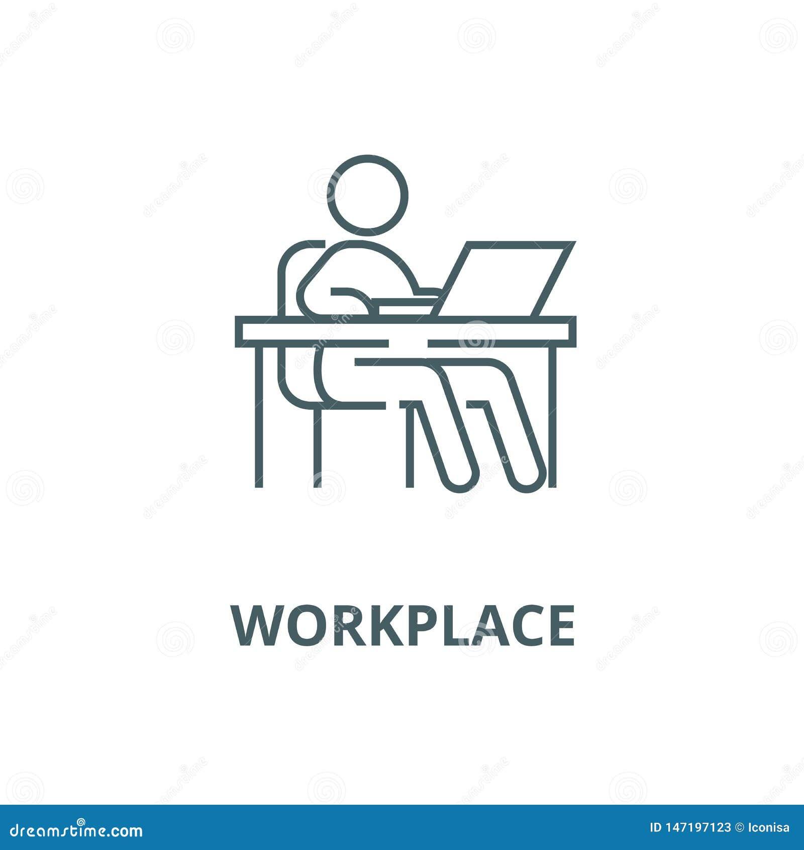 Arbeta på tabellen, arbetsplats, ledningvektorlinje symbol, linjärt begrepp, översiktstecken, symbol