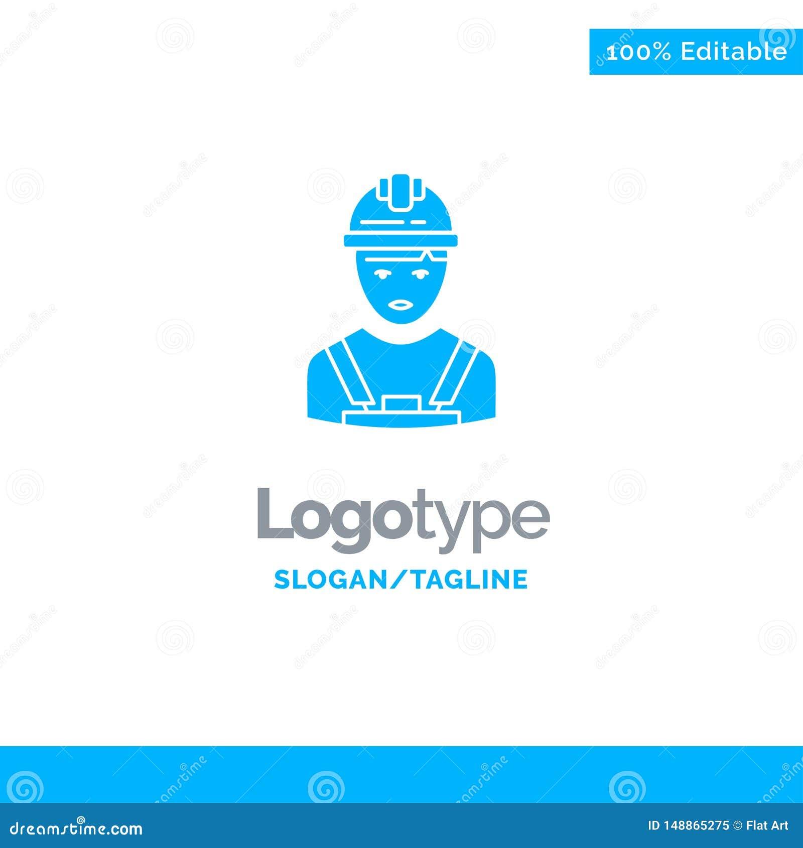 Arbetare bransch, Avatar, tekniker, arbetsledare blåa fasta Logo Template St?lle f?r Tagline