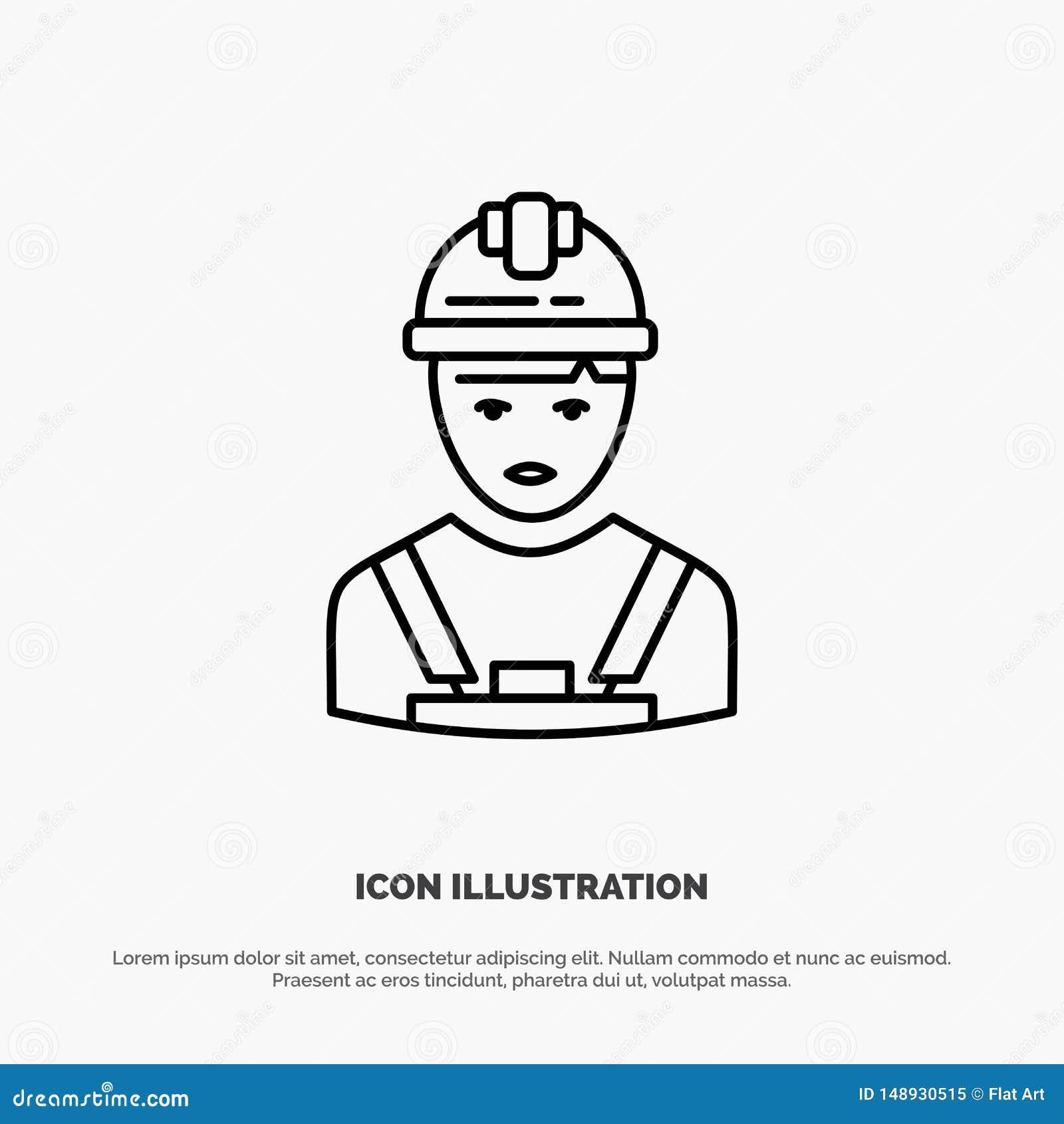 Arbetare bransch, Avatar, tekniker, arbetsledarelinje symbolsvektor