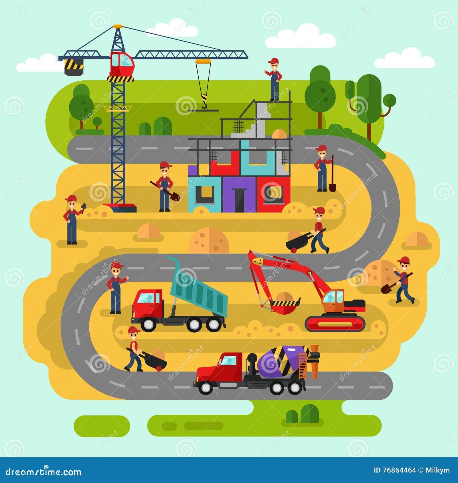 Arbetare bygger ett hus