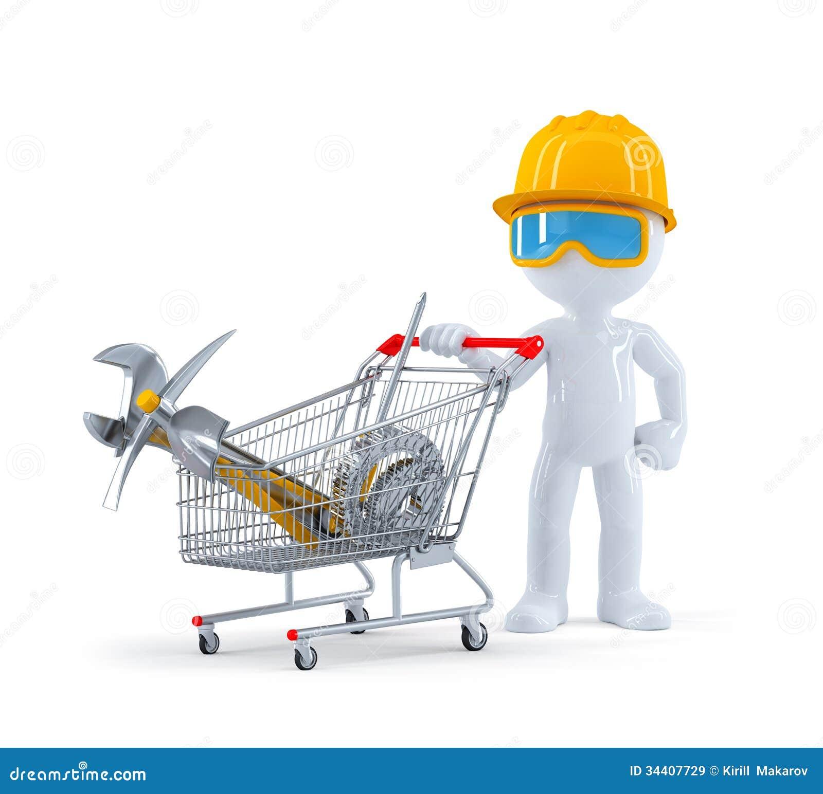 Arbetare/byggmästare med vagnen som är full av konstruktionshjälpmedel