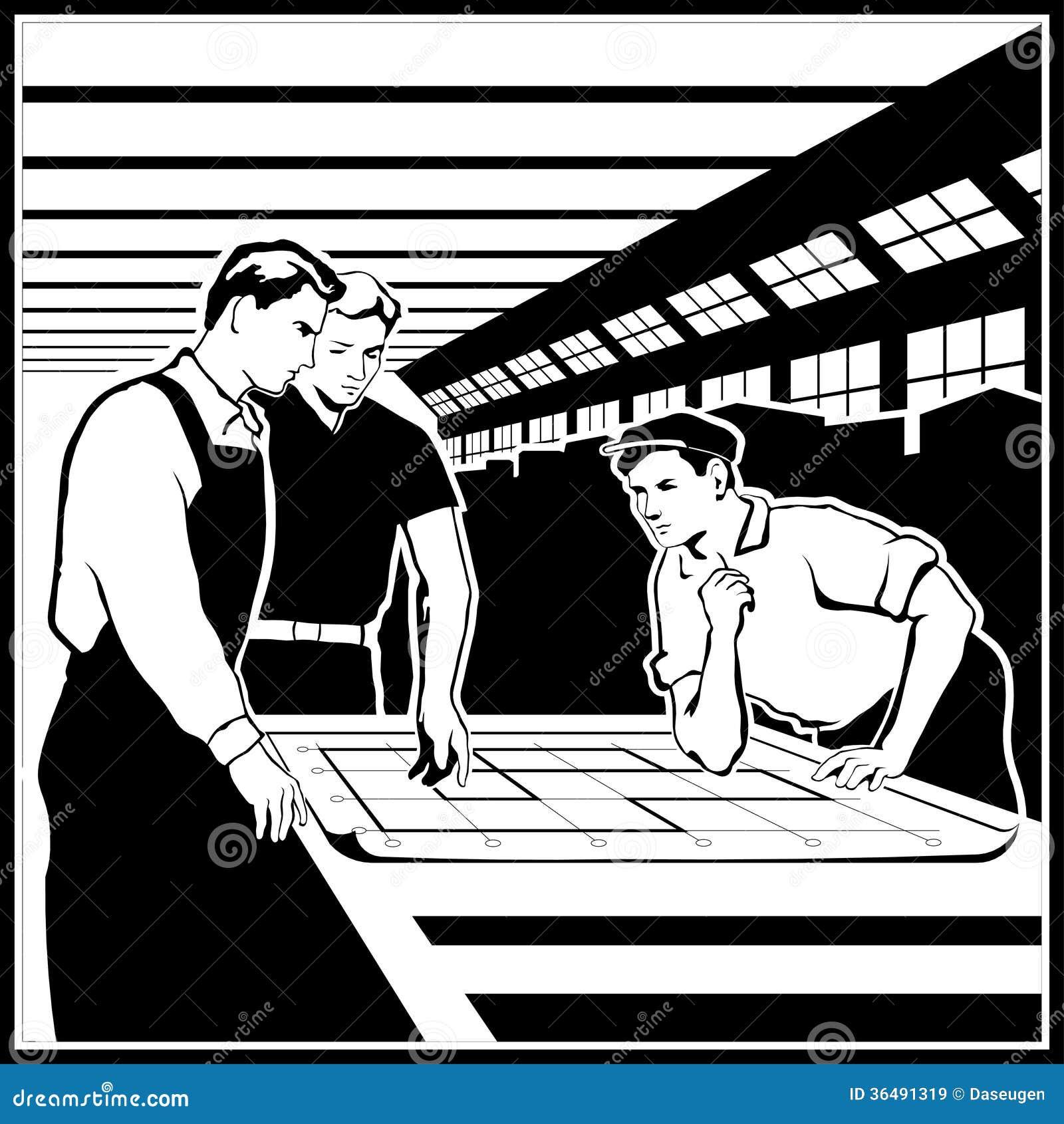 Arbetare diskuterar deras handlingar enligt teckningarna