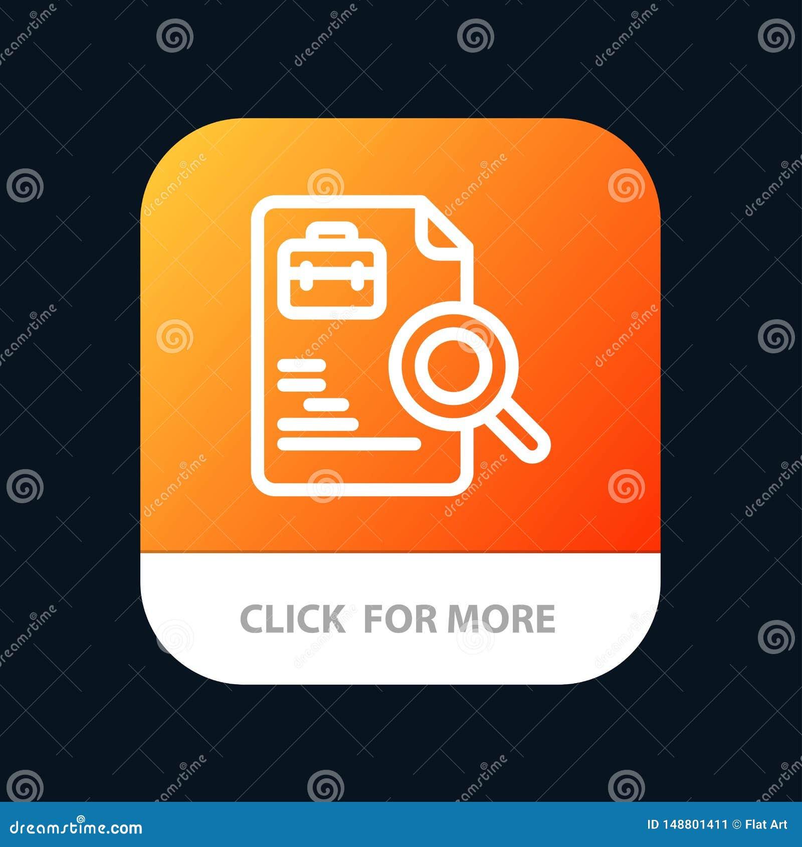 Arbetare dokument, sökande, mobil Appknapp för jobb Android och IOS-linje version