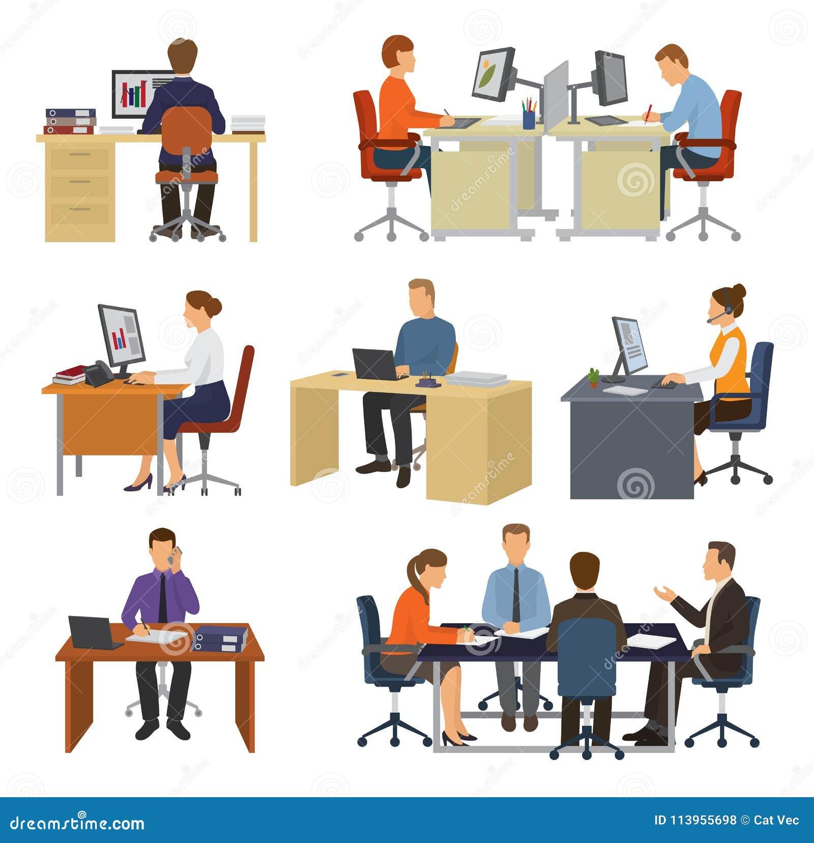 Arbetare för vektor för affärsfolk som yrkesmässiga i regeringsställning sitter på tabellen med illustrationuppsättningen för bär