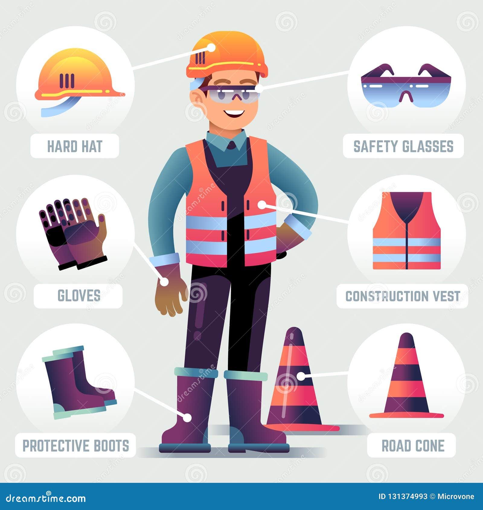 Arbetare med säkerhetsutrustning Bärande hjälm för man, handskeexponeringsglas, skyddande kugghjul Byggmästareskydd som beklär PP