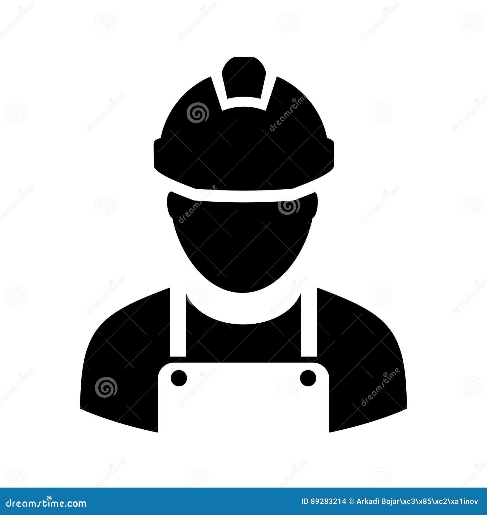 Arbetare med symbolen för hård hatt