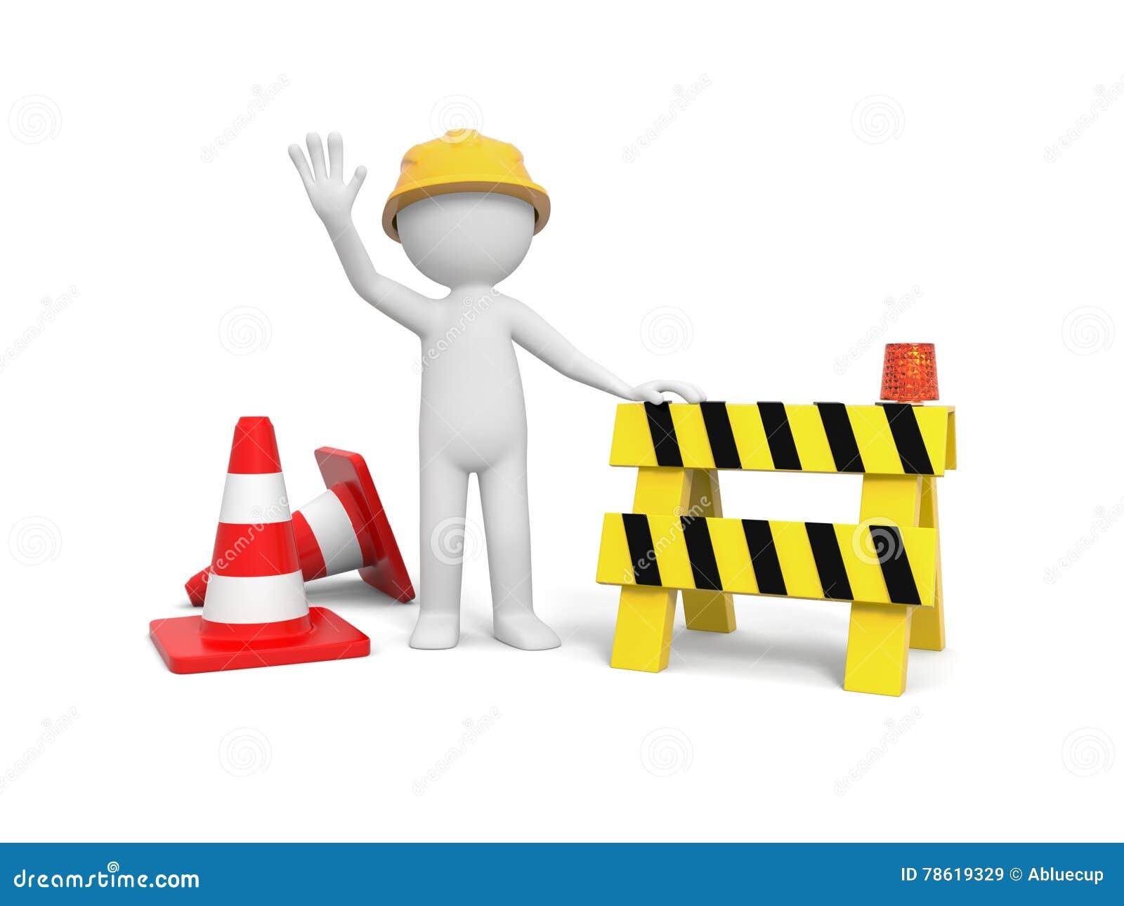 Arbetare med väggspärret