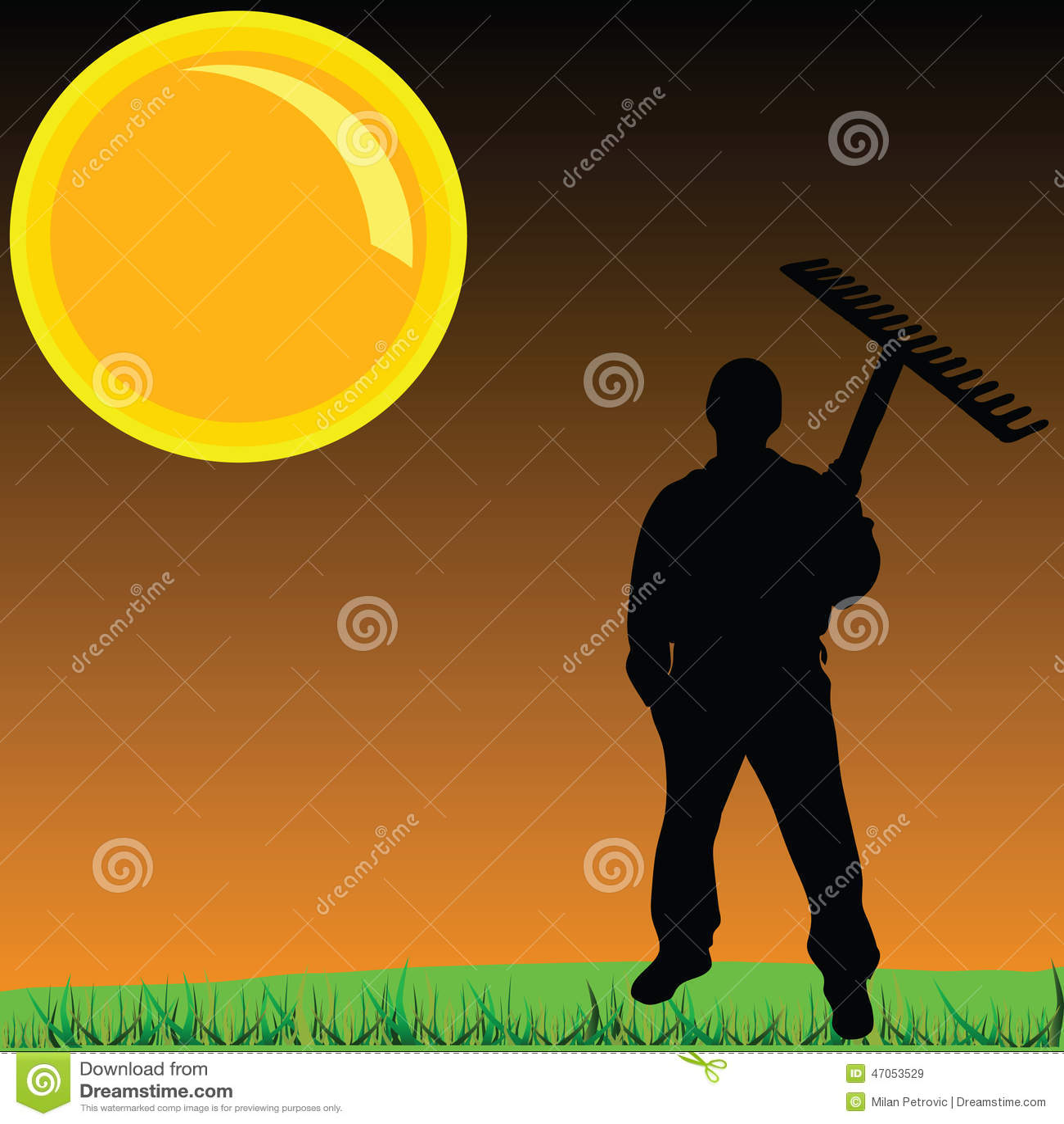 Arbetare på en gräsvektorillustration
