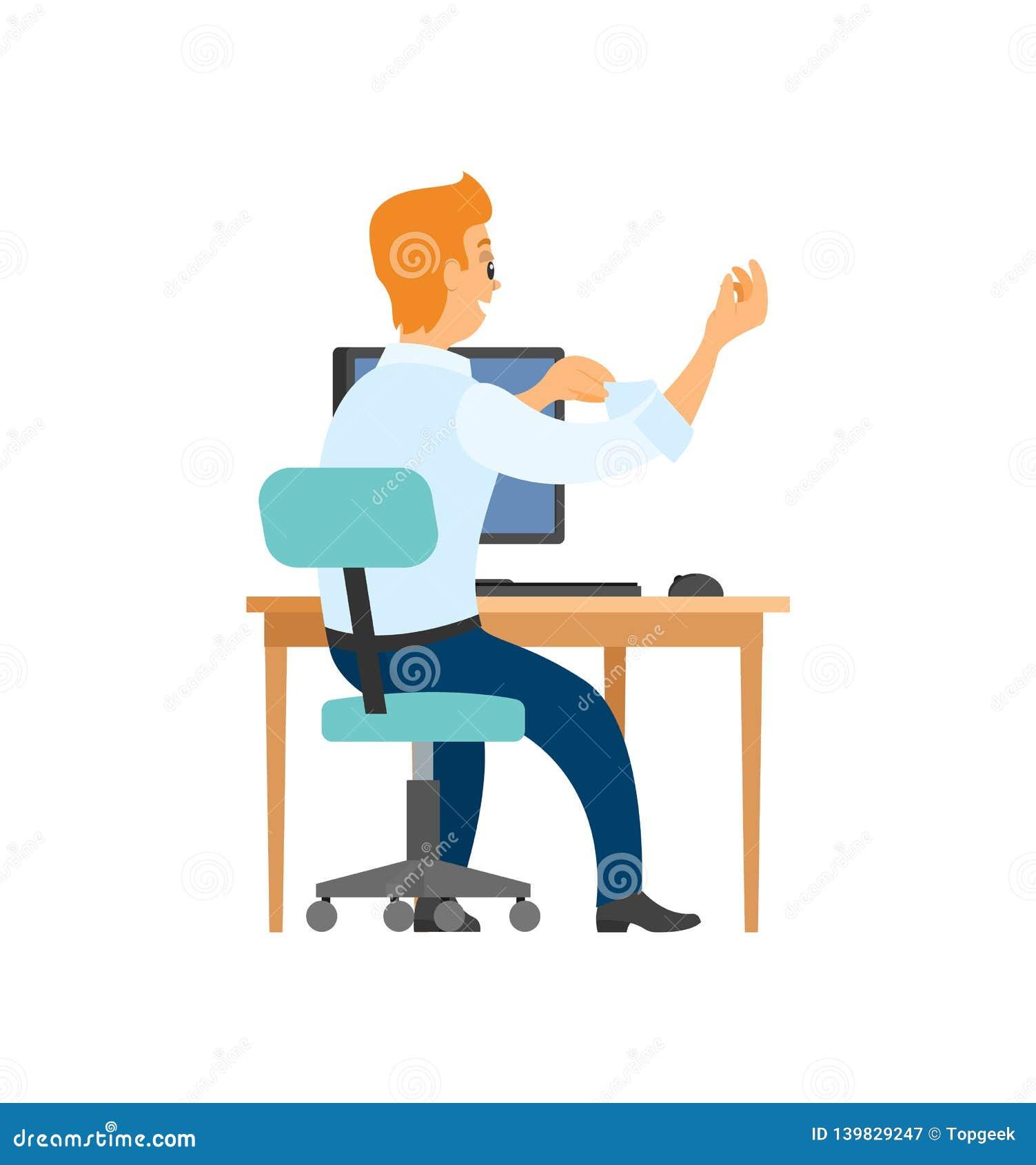 Arbetare på stol, datoren och tabellen, tillbaka sikt