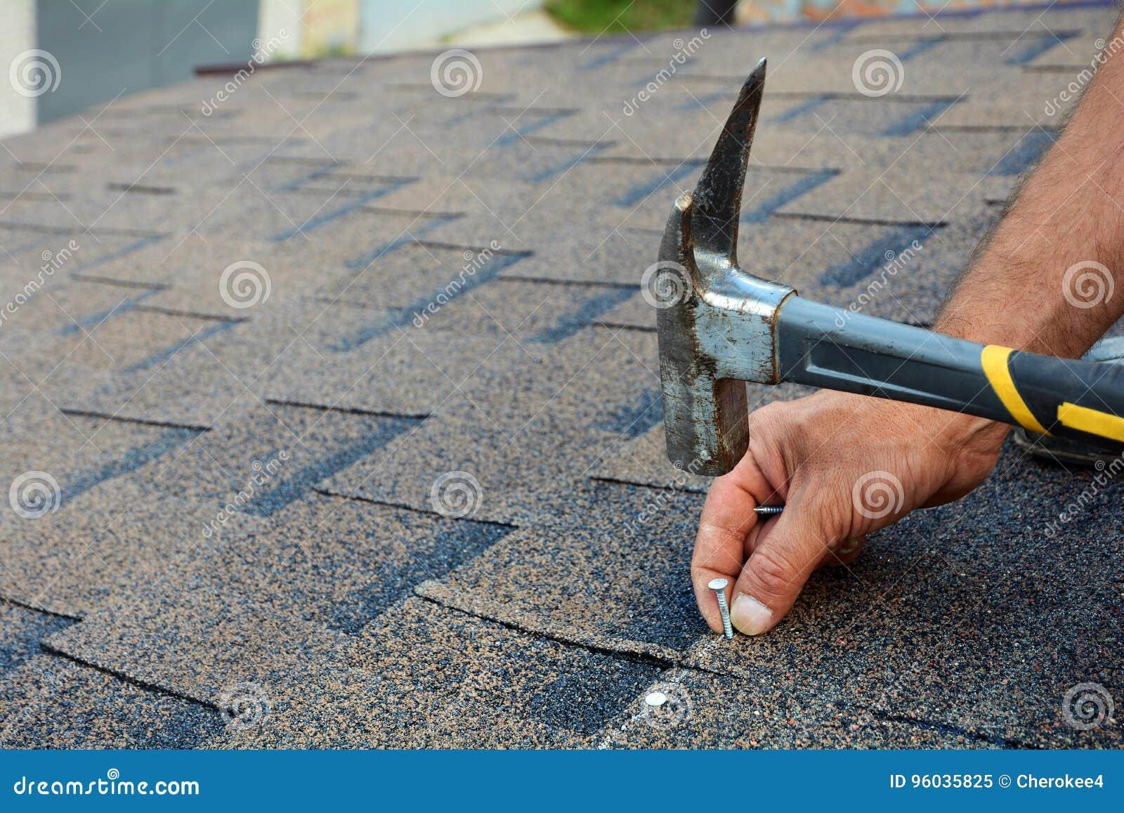 Arbetarhänder som installerar bitumentaksinglar Arbetarhammaren spikar in på taket Rooferen bultar en spika i taksinglarna