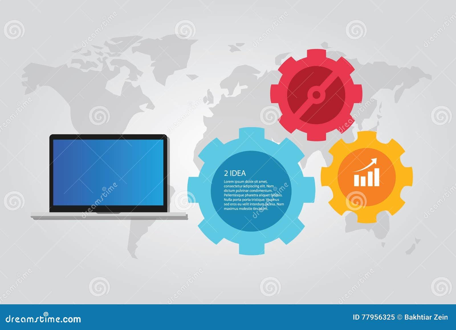 Arbete för kugghjul för värld för översikt för informationsteknikdatorbärbar dator infographic