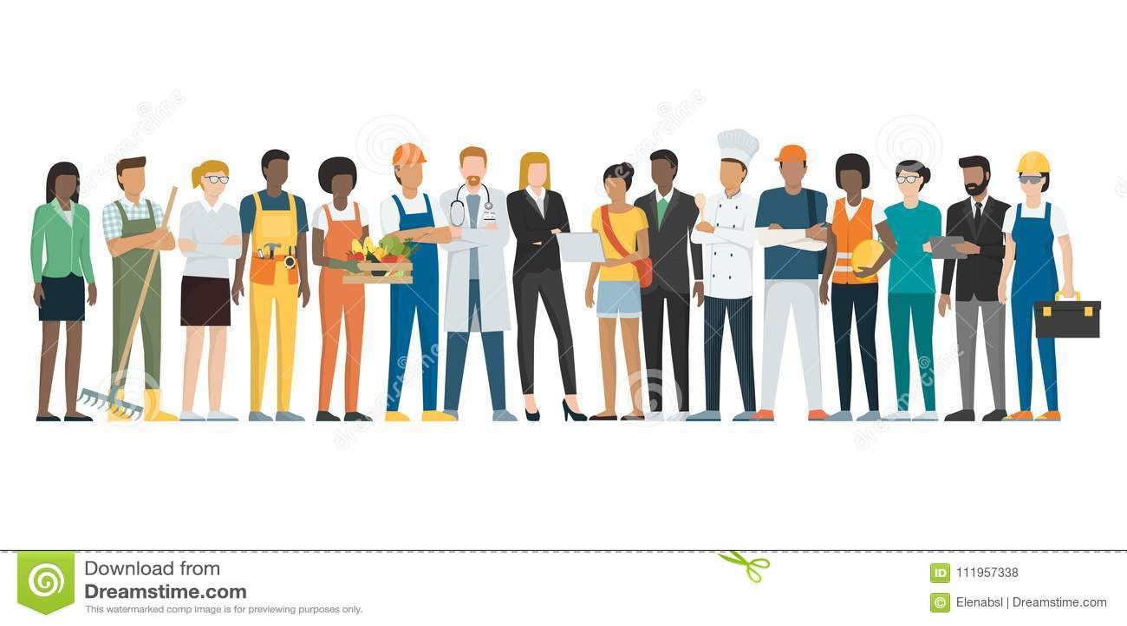 Arbets- dag: arbetare som tillsammans poserar och står