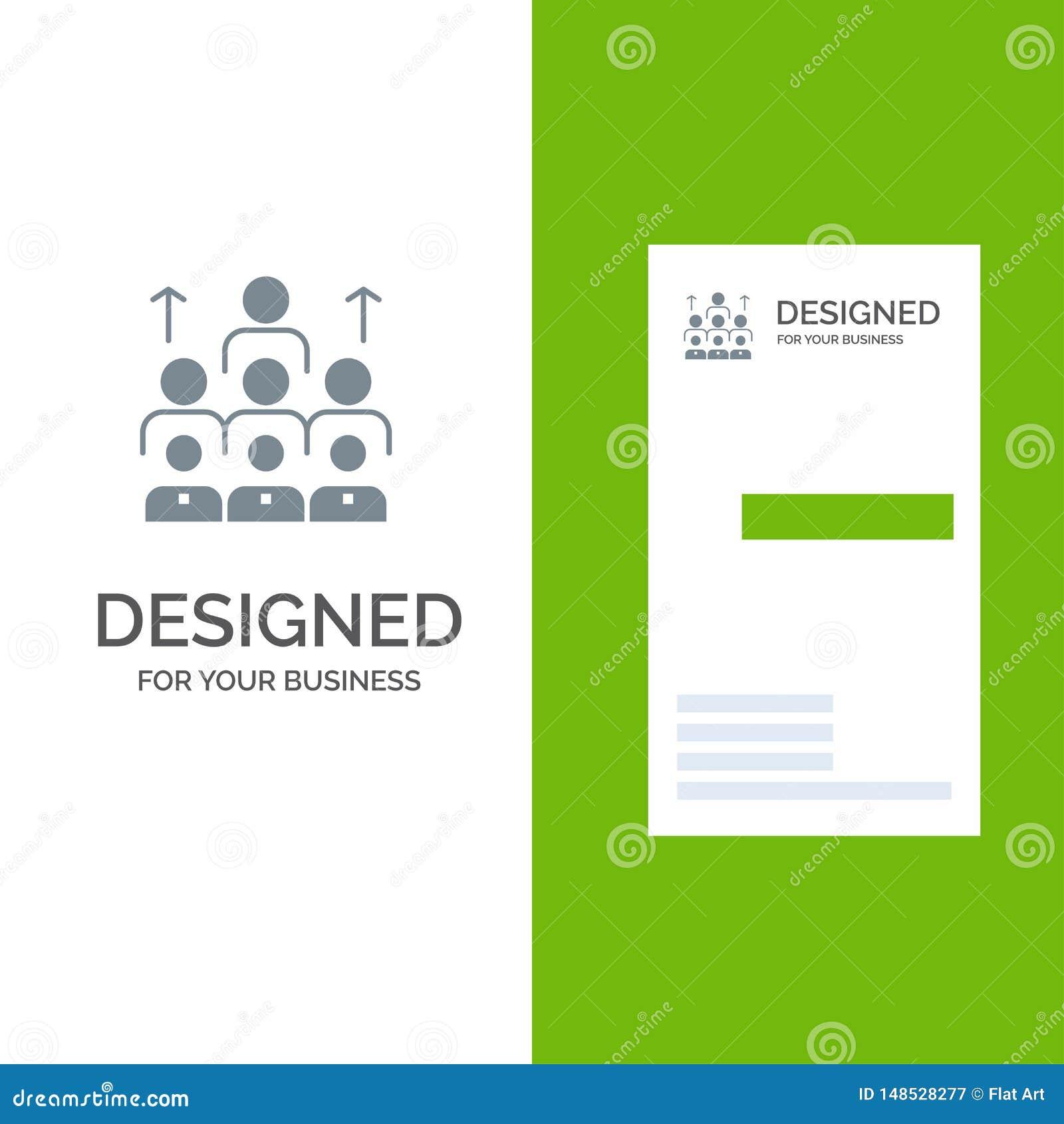 Arbetskraft, affär, människa, ledarskap, ledning, organisation, resurser, teamwork Grey Logo Design och mall för affärskort