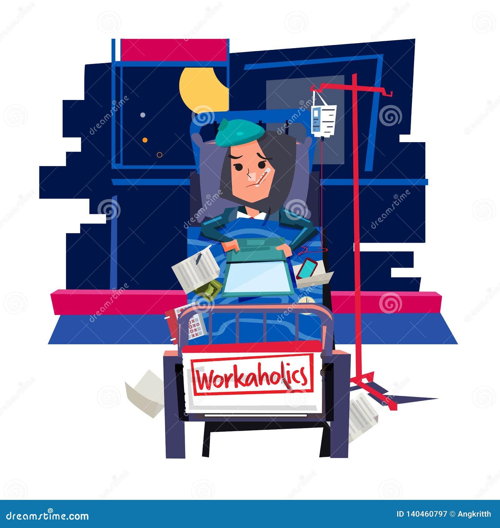 Arbetsnarkomanflicka upptaget flickaarbete på säng och att få sjukt - vektor