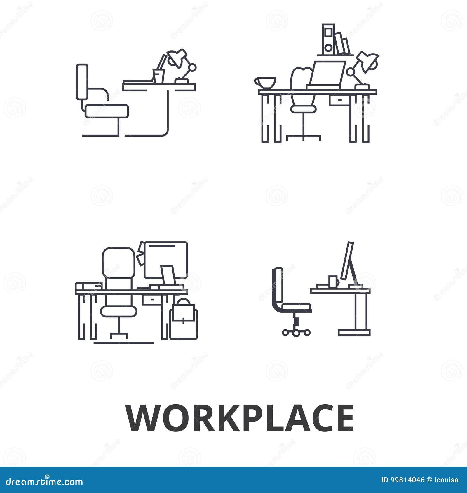 Arbetsplats kontor, arbete, affär, skrivbord, företags inre, industriell linje symboler Redigerbara slaglängder Plan designvektor
