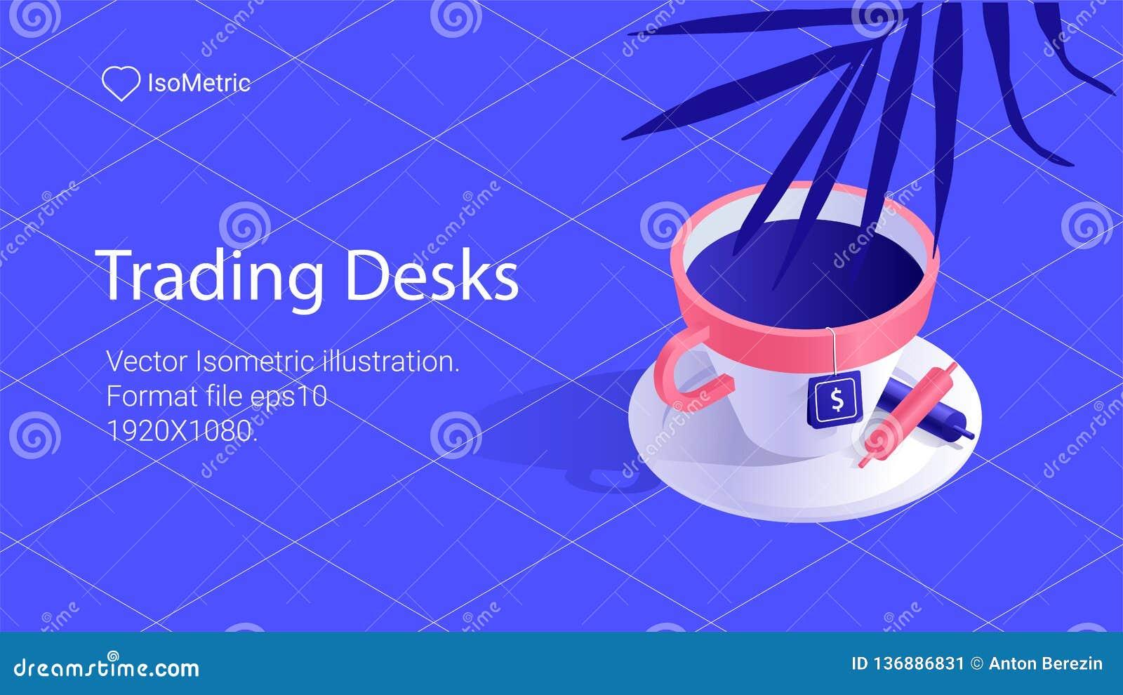Arbetsplatsaffärsmanillustration, arbetsskrivbordbaner, isometrisk illustration