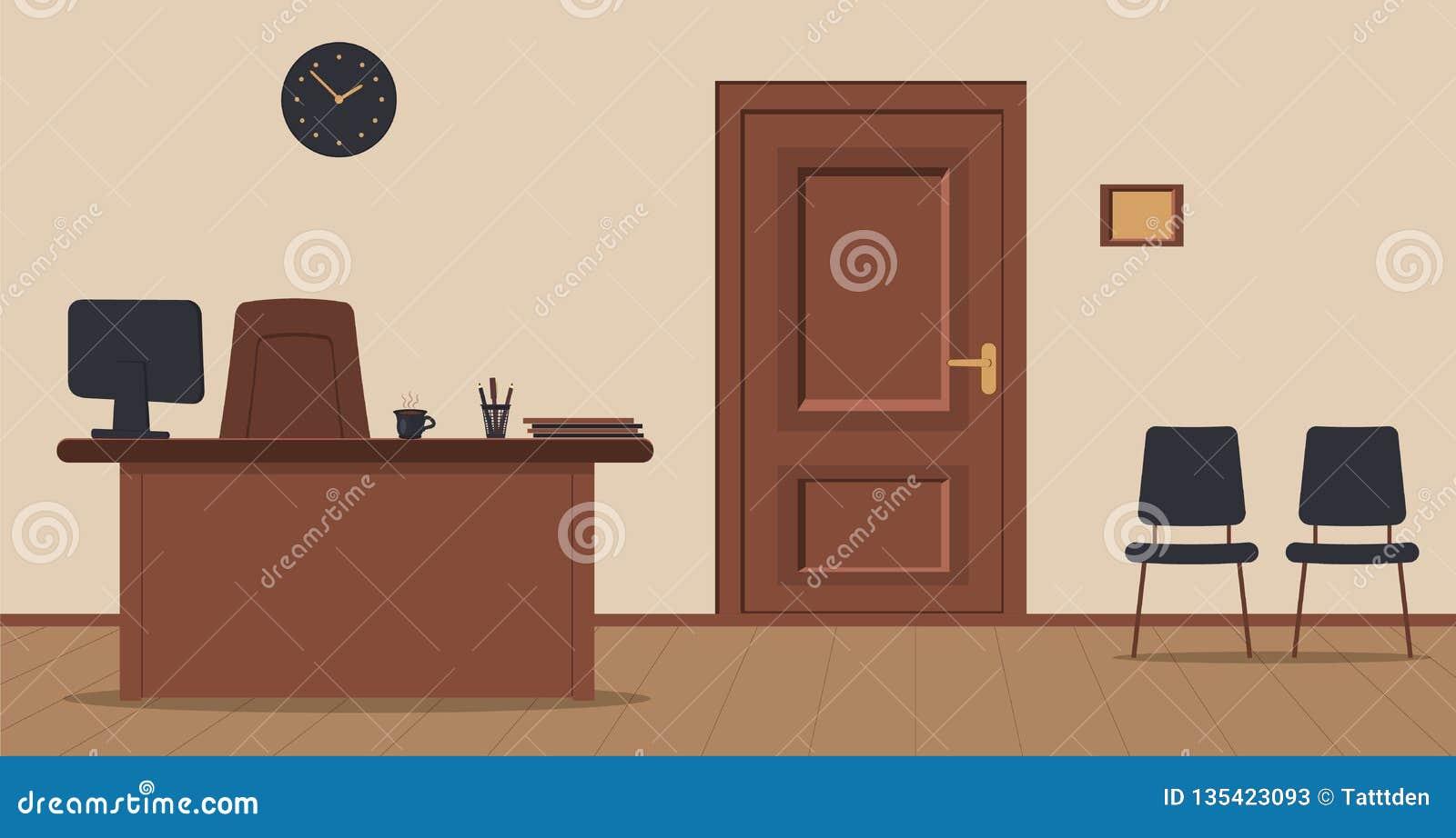 Arbetsplatssekreterare i mottagandet på en kräm- bakgrund