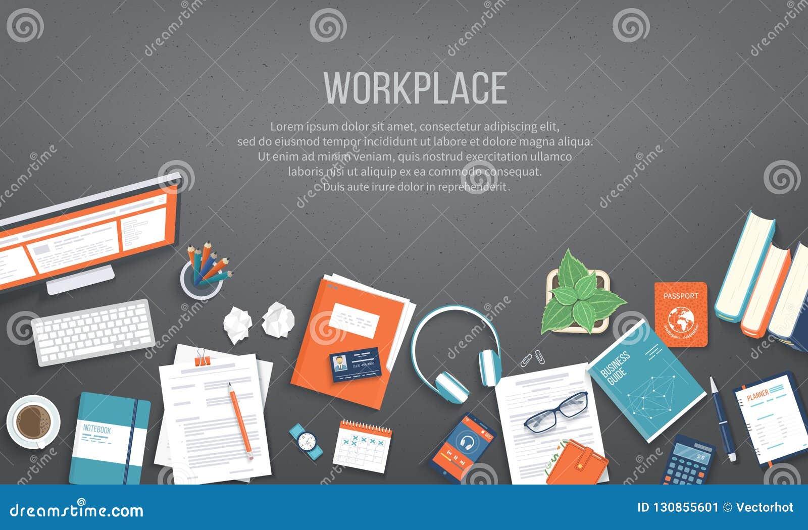 Arbetsplatsskrivbordsbakgrund Bästa sikt av den svarta tabellen, bildskärm, mapp, dokument, notepad placera text
