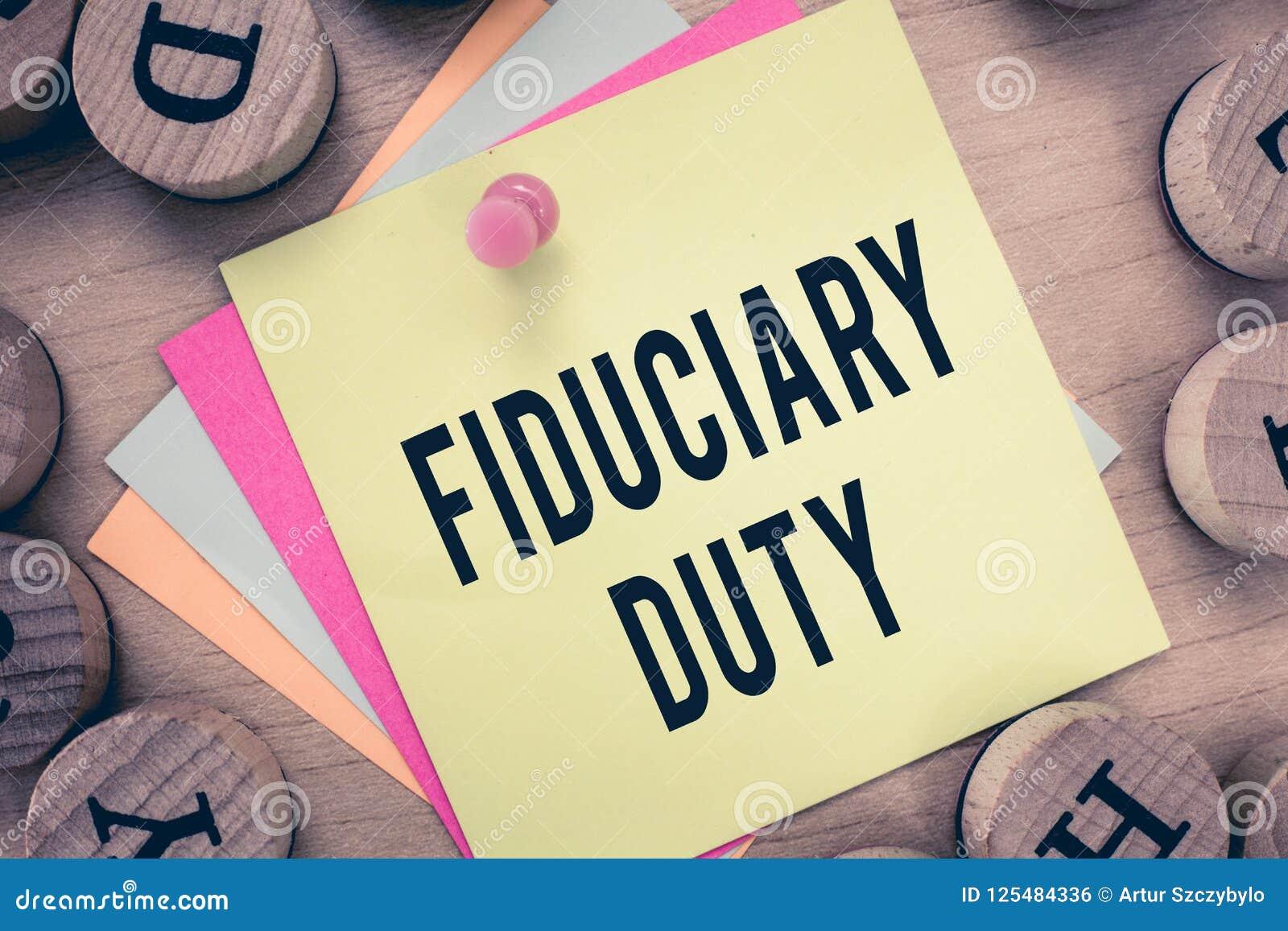 Arbetsuppgift för Fiduciary för textteckenvisning Begreppsmässigt lagligt åtagande för foto A att agera i största vikt av annan