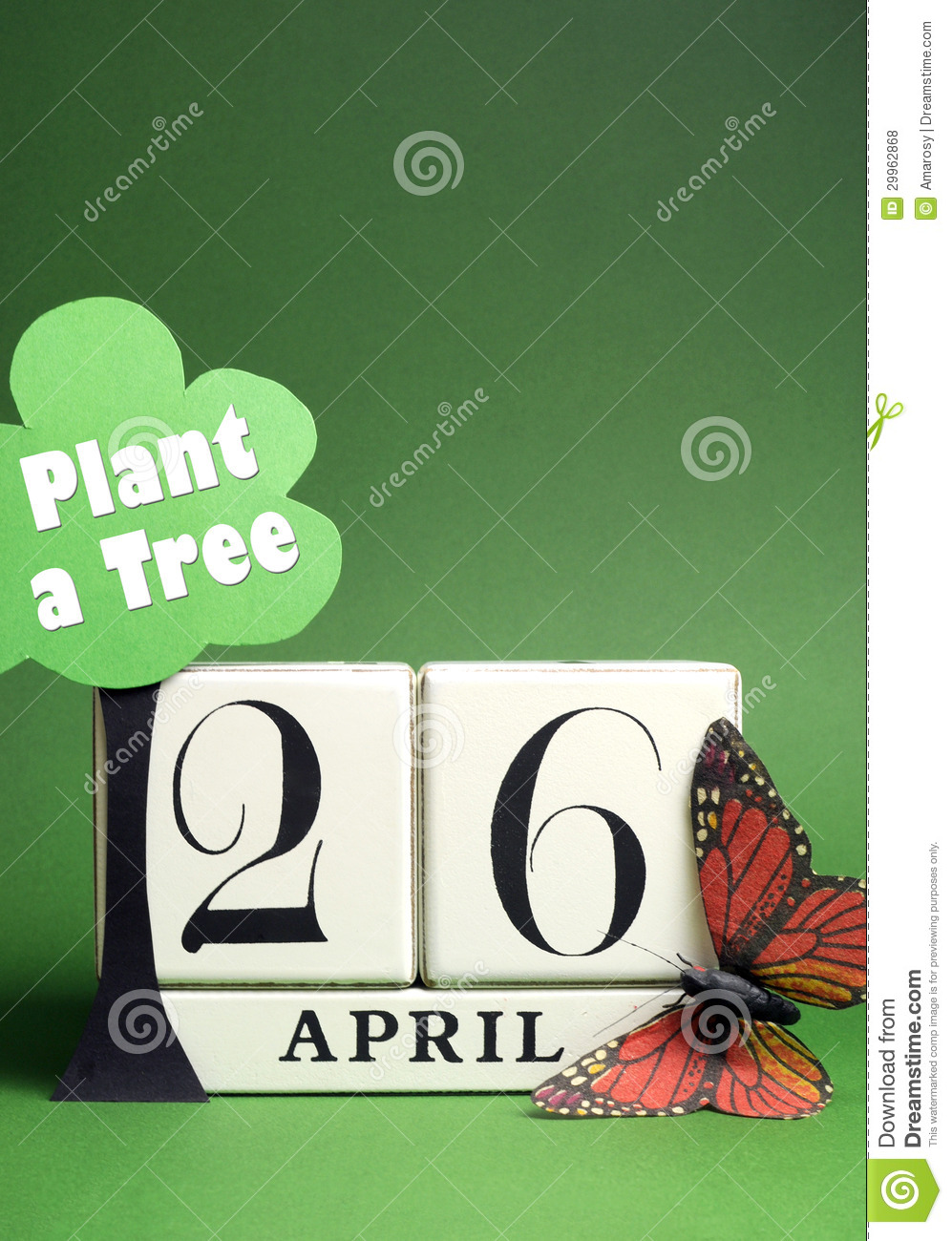 Xs Calendar April : Plant a tree on arbor day with white block calendar for
