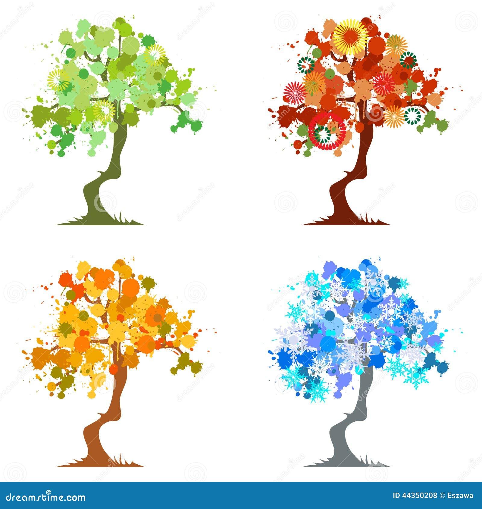 Arbre abstrait l ments graphiques quatre saisons illustration de vecteur illustration du - Dessin 4 saisons ...