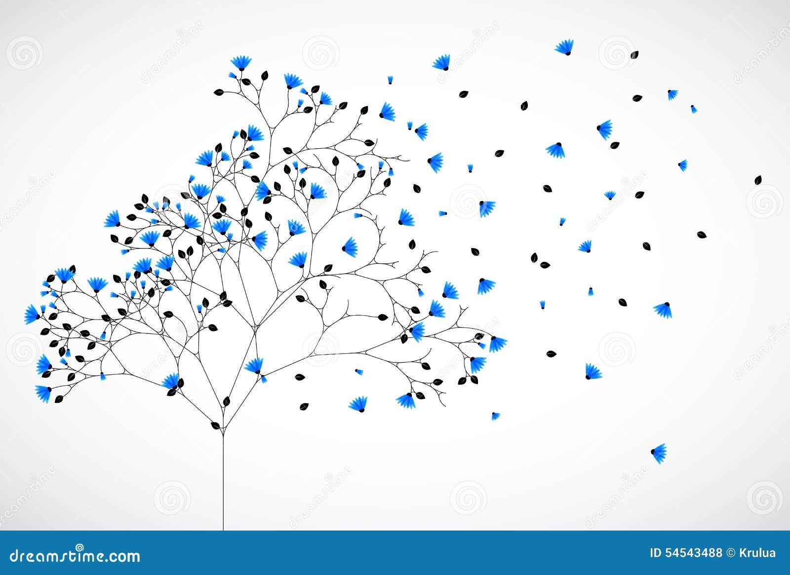 Arbre abstrait de fond de nature avec les fleurs bleues