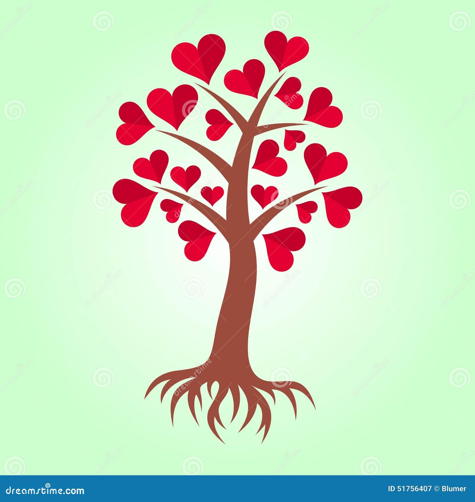 arbre avec des coeurs et des racines illustration de vecteur image 51756407. Black Bedroom Furniture Sets. Home Design Ideas