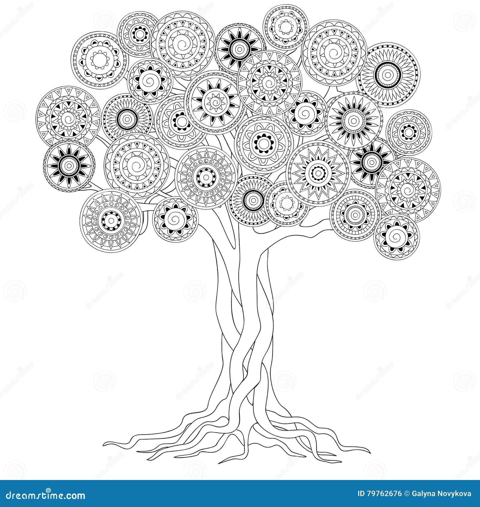 arbre avec des racines des mandalas illustration de vecteur illustration du abstrait fond. Black Bedroom Furniture Sets. Home Design Ideas