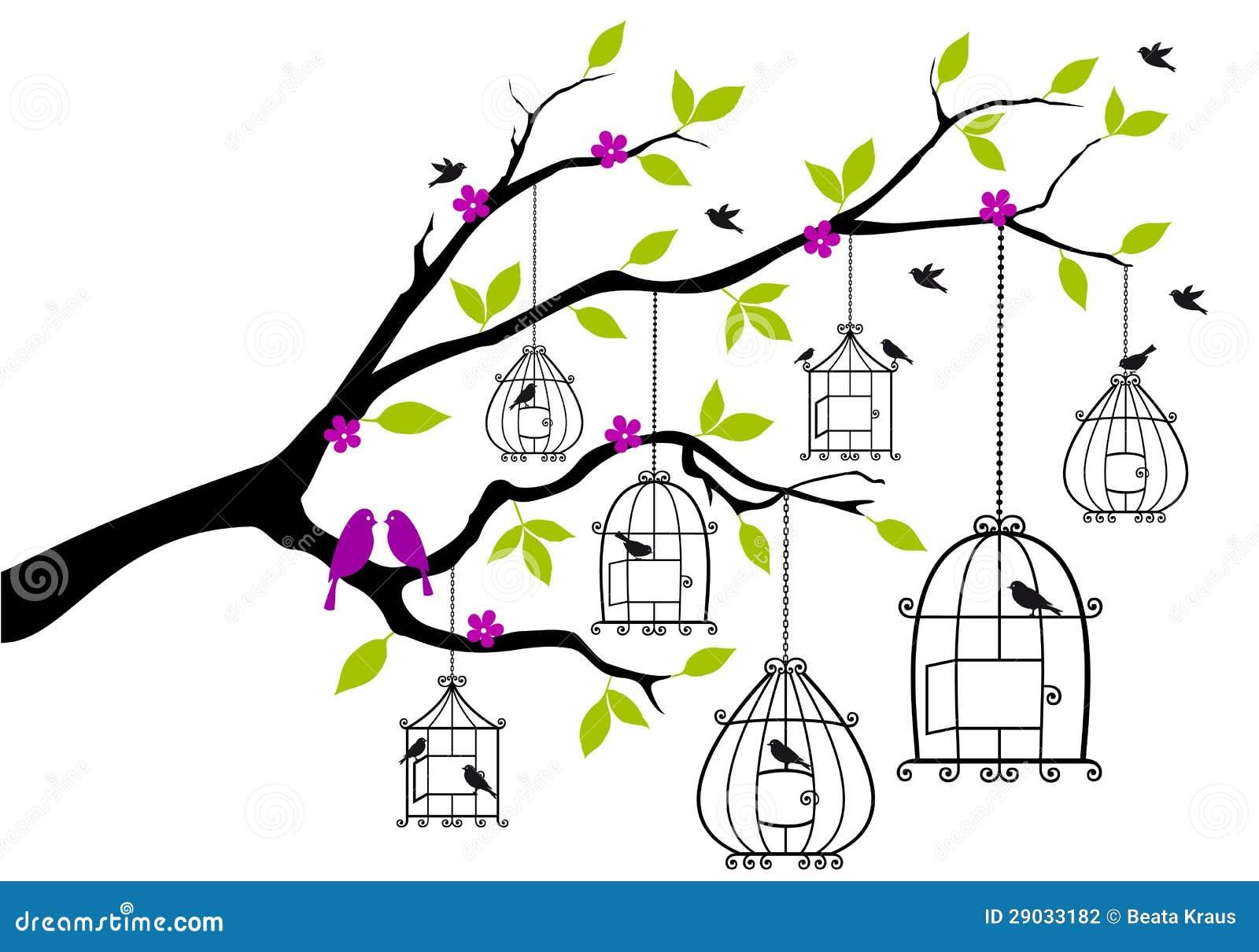 Dessin Oiseau En Cage arbre avec les cages à oiseaux ouvertes, vecteur illustration de