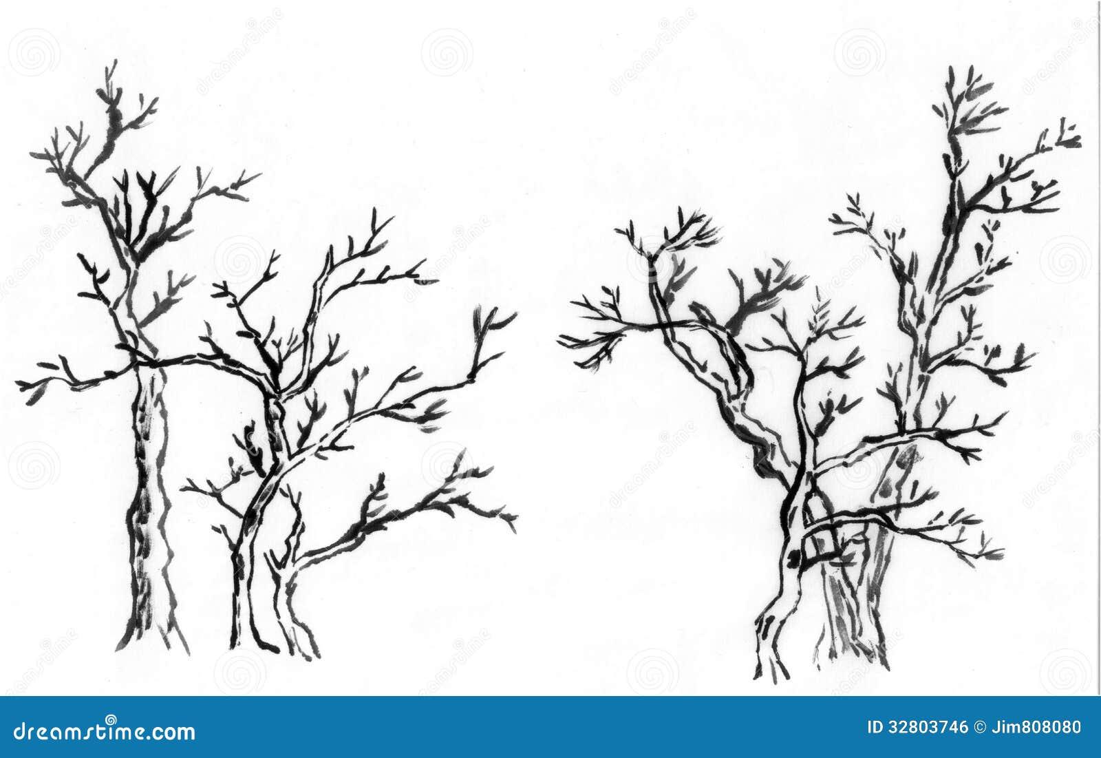 Arbre chinois de peinture les trois arbres illustration stock illustration du blanc - Dessin arbre chinois ...