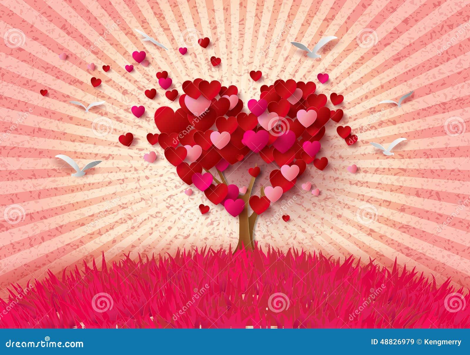 Image Avec Des Coeur arbre d'amour avec des feuilles de coeur illustration de vecteur