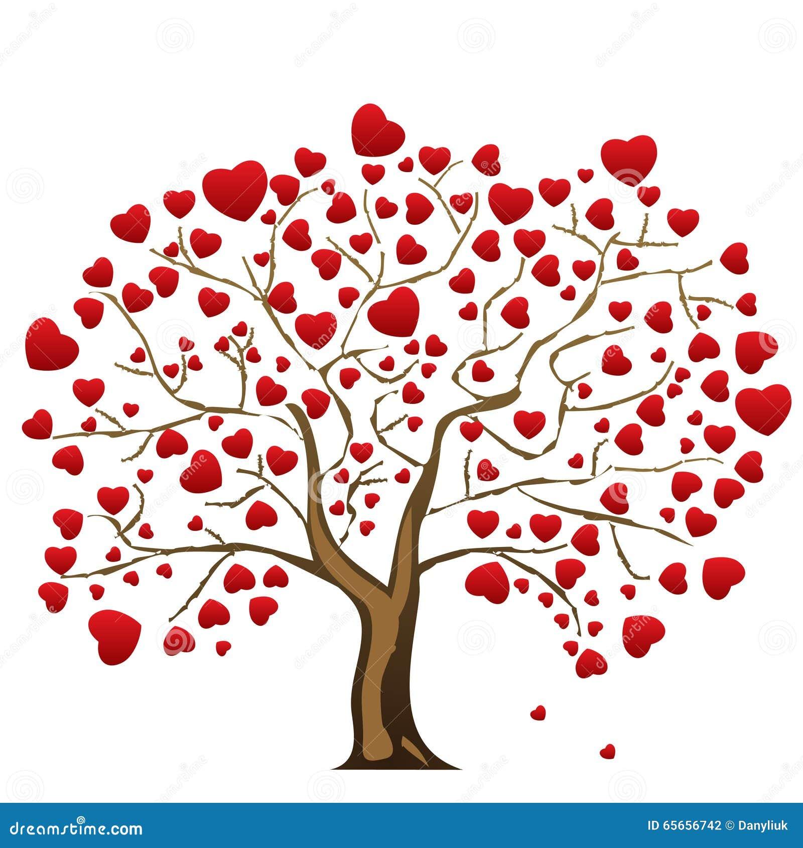 Arbre d 39 amour avec des feuilles de coeur illustration de vecteur illustration du branchement - Images avec des coeurs ...