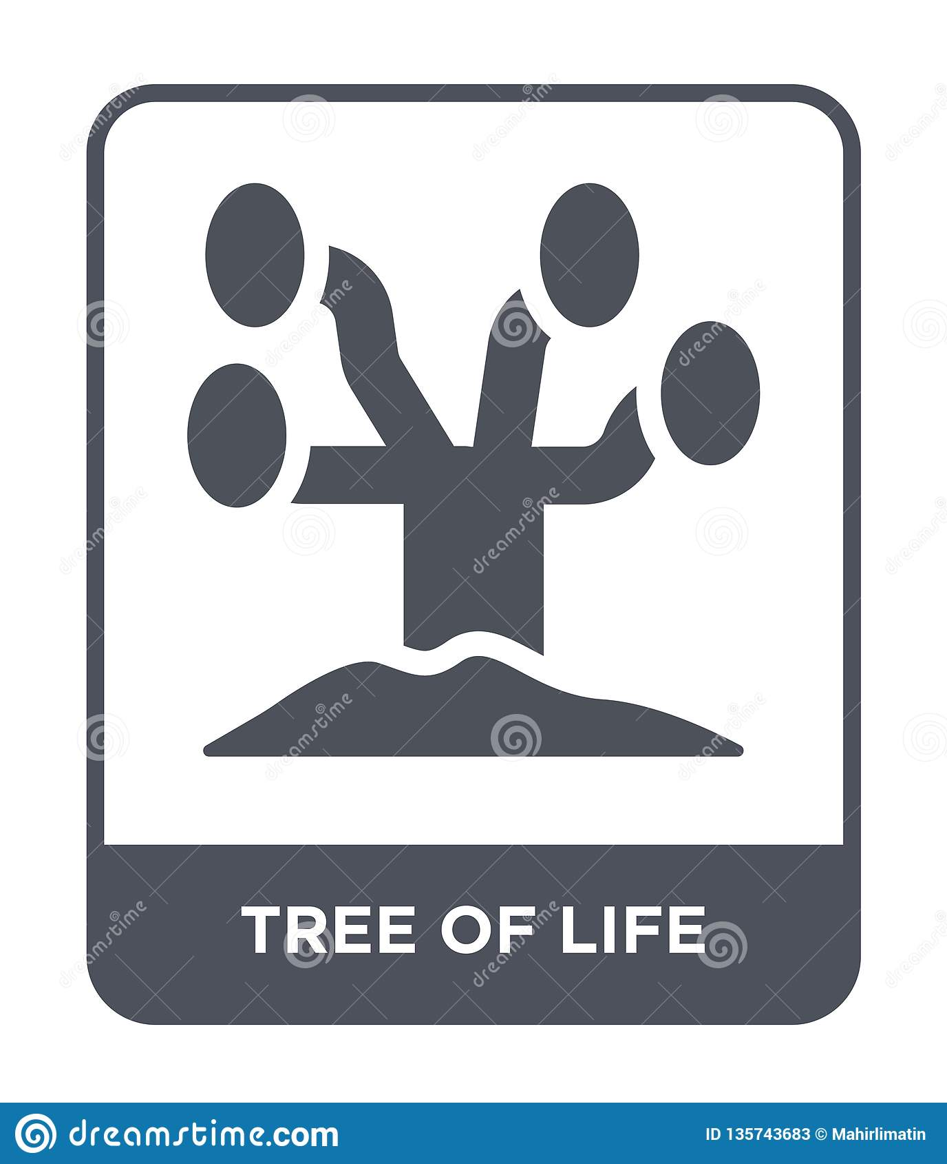 Arbre d icône de la vie dans le style à la mode de conception arbre d icône de la vie d isolement sur le fond blanc arbre de l ic