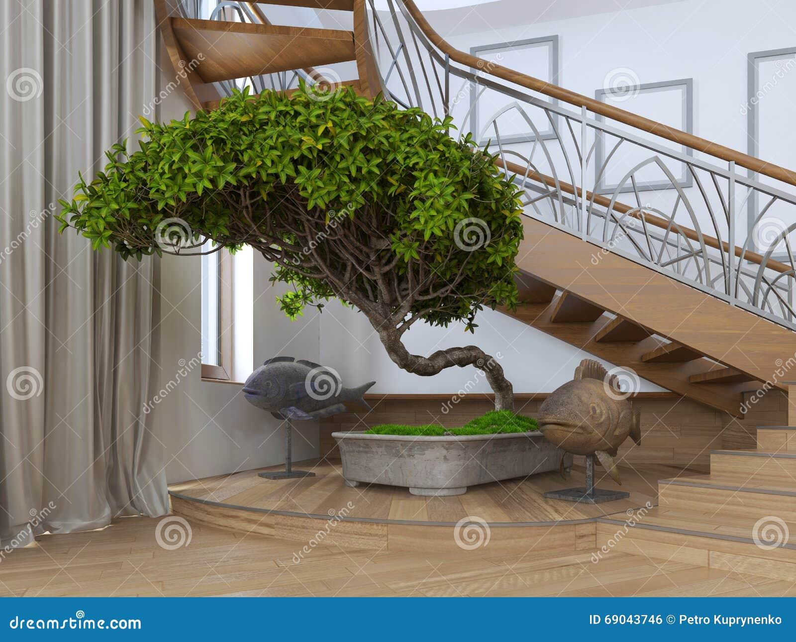 Arbre de bonsa s l 39 int rieur d 39 une maison priv e avec s d coratif photo stock image du - Interieur d une maison ...
