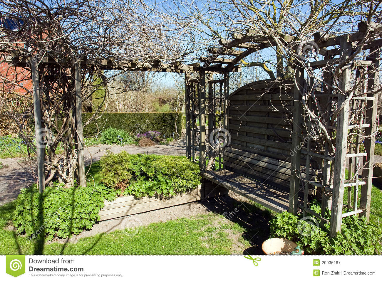 arbre de gazebo de pergola de jardin image stock image du grille beau 20936167. Black Bedroom Furniture Sets. Home Design Ideas